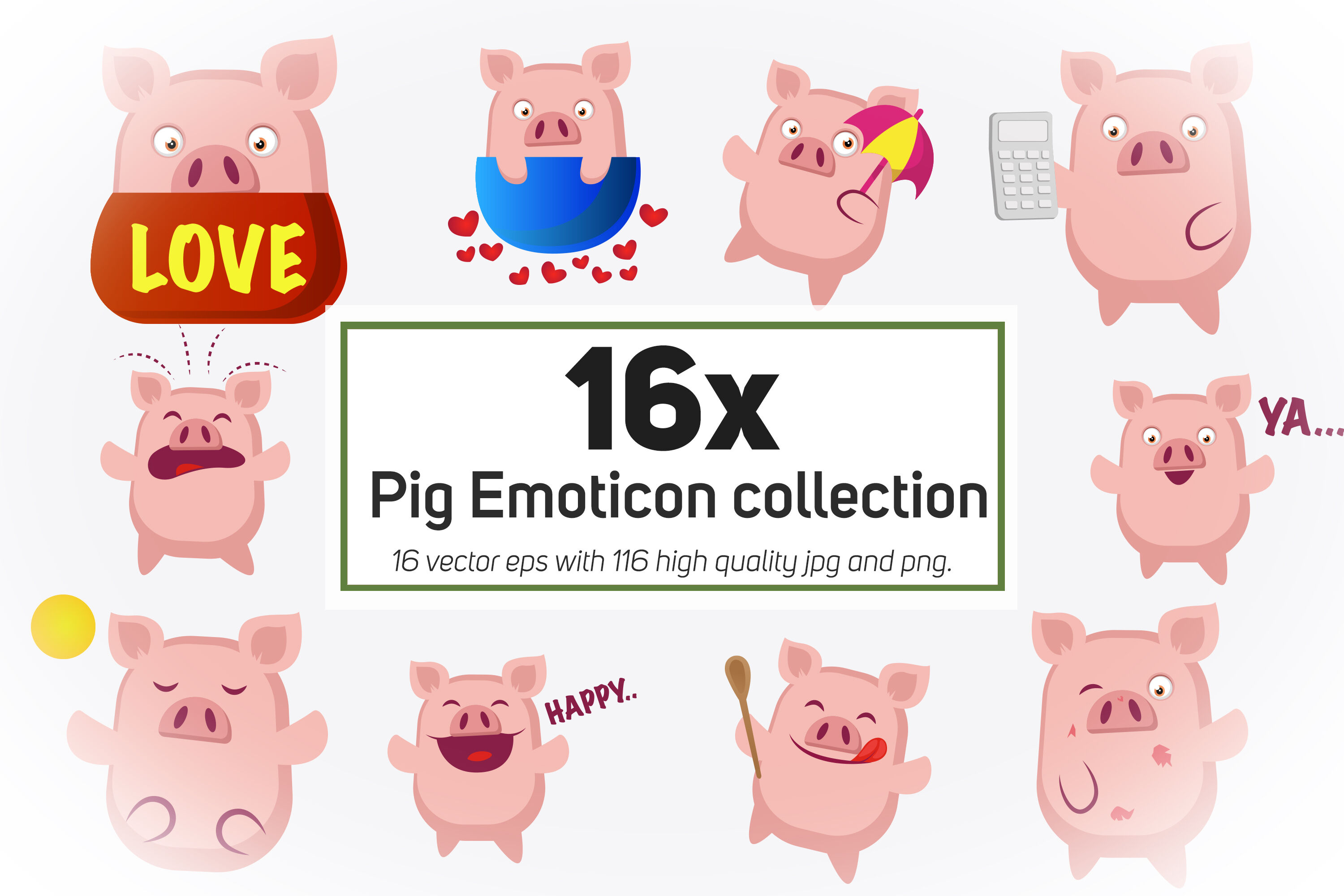 16x Pig Emoticon Collection Illustration By Morphart