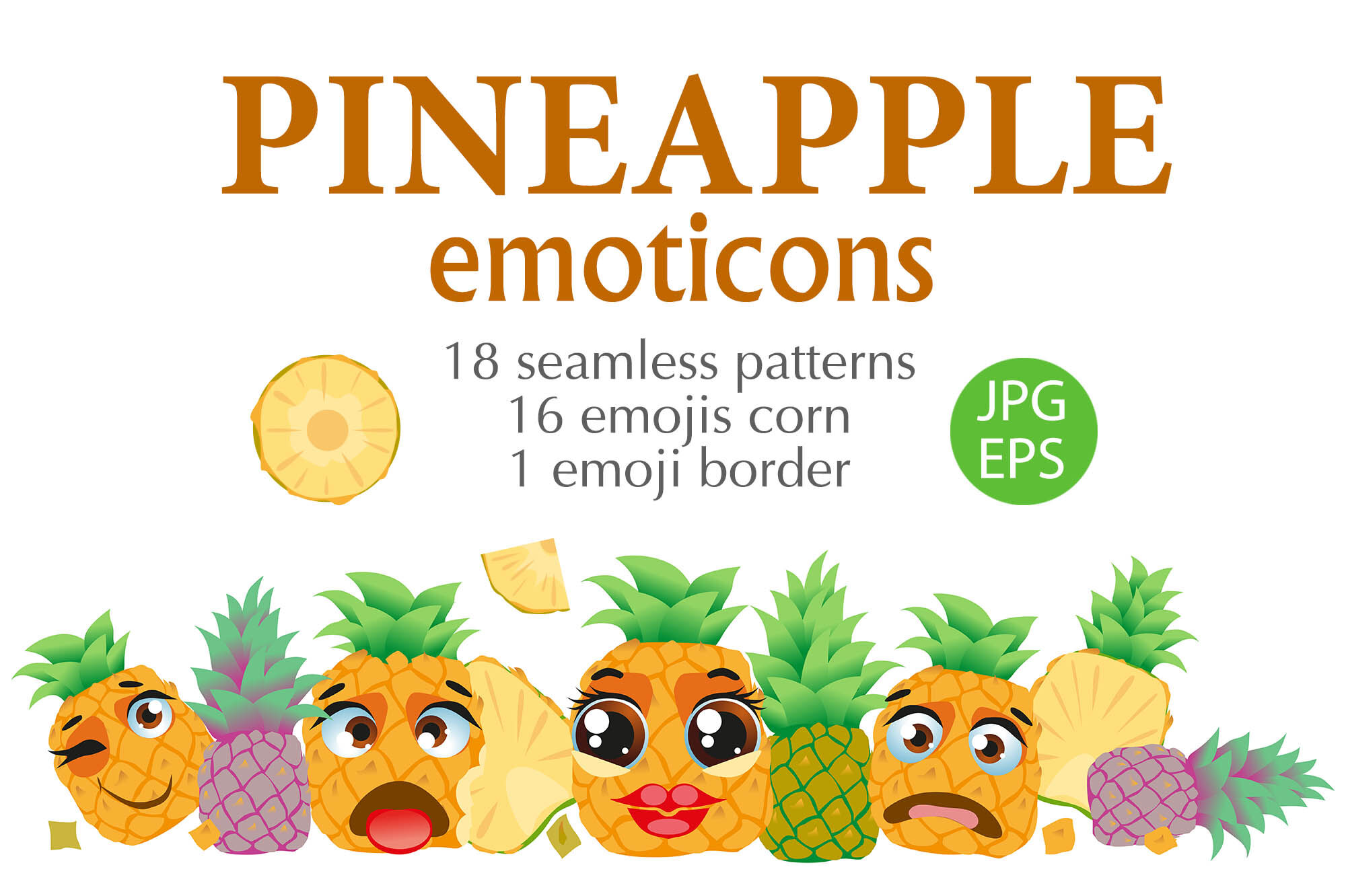 Pineapple Emoticons By Watercolor Fantasies Thehungryjpeg Com