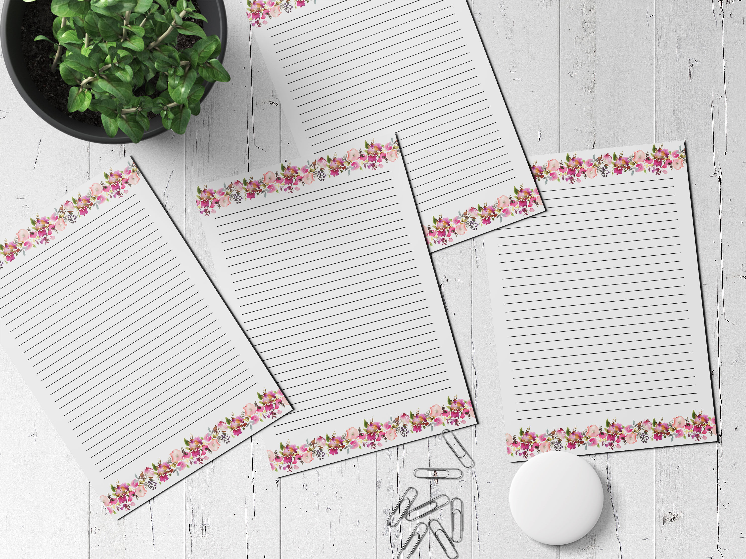 Floral Printable Stationery Lined Digital Note Paper By Old Continent Design Thehungryjpeg Com