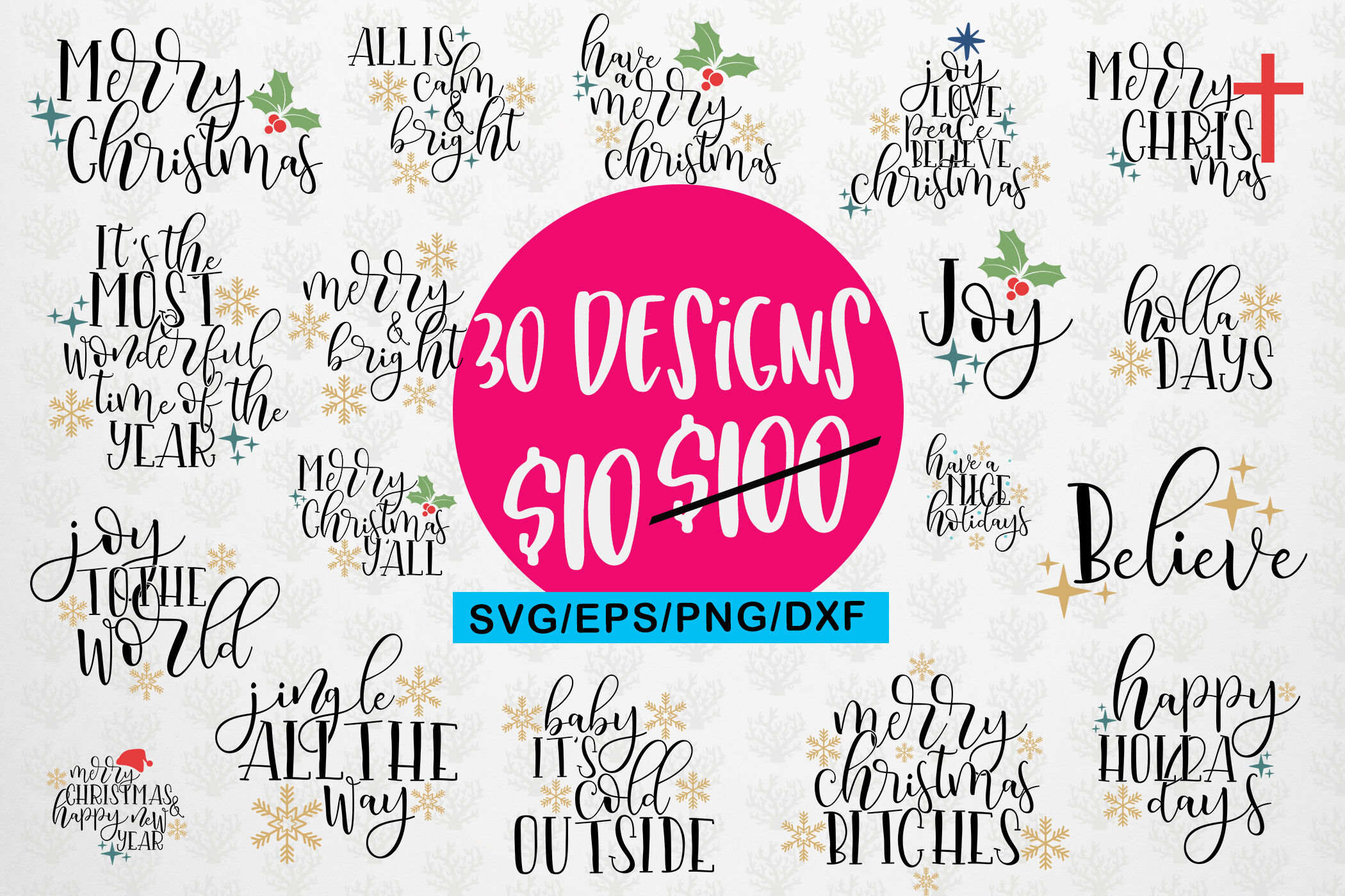 Christmas Quote Bundle Svg Eps Dxf Png By Coralcuts