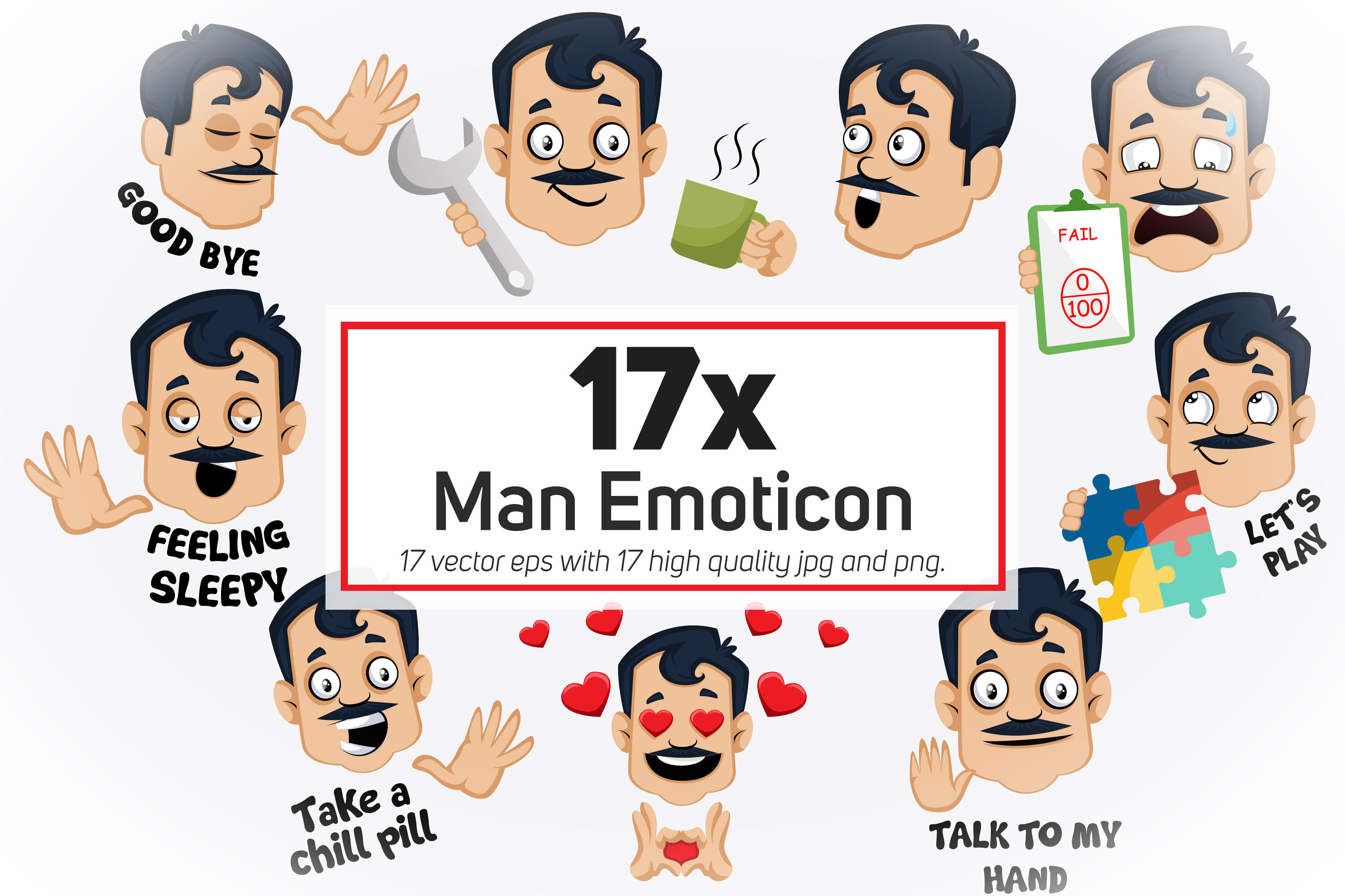 17x Man Emoticon Or Stickers Character Collection Illustration By