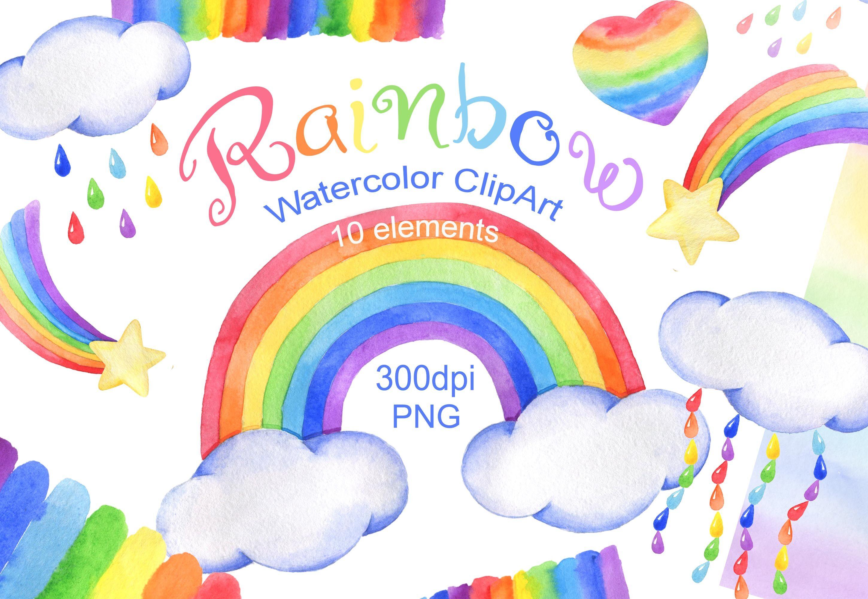 Watercolor Rainbow Clipart Cloud Rain Baby Shower Png By Vilenaart