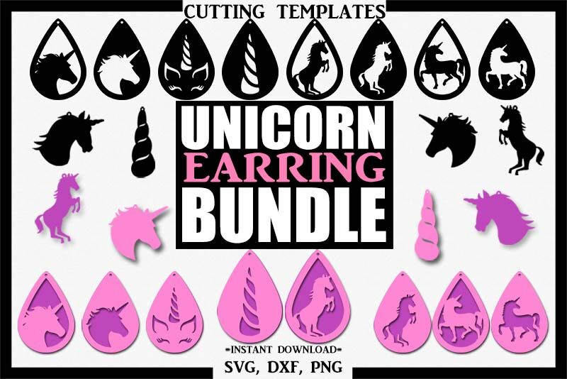 Unicorn Bundle Earrings Silhouette Cricut Cut File Svg By