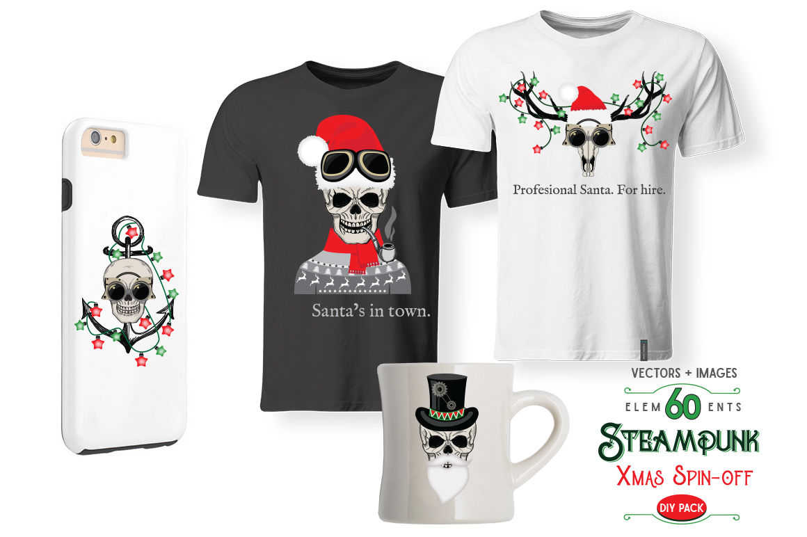 Steampunk Xmas Spin Off By Friendly Label Thehungryjpeg Com