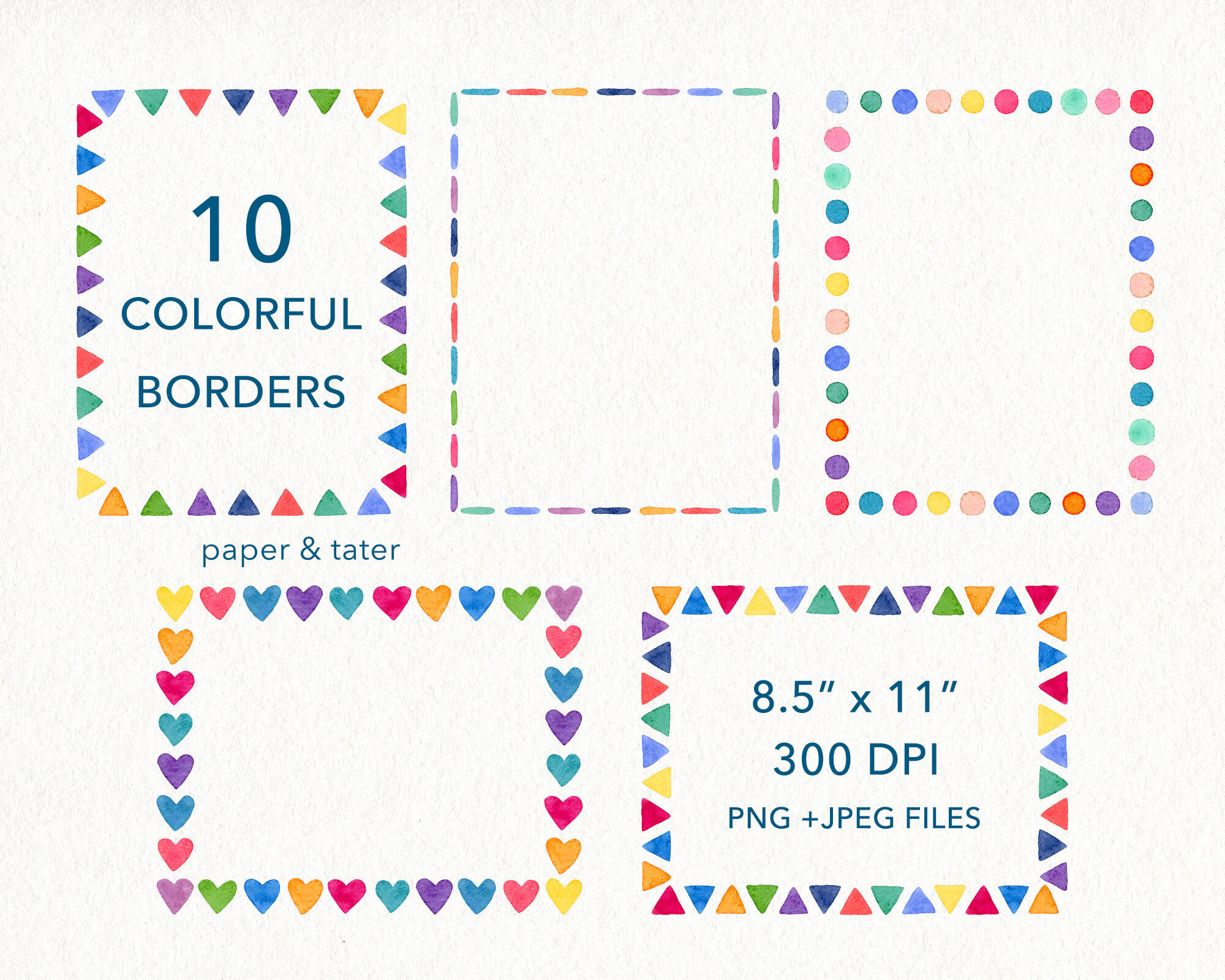 Watercolor Rainbow Borders By Paperandtater Thehungryjpeg Com