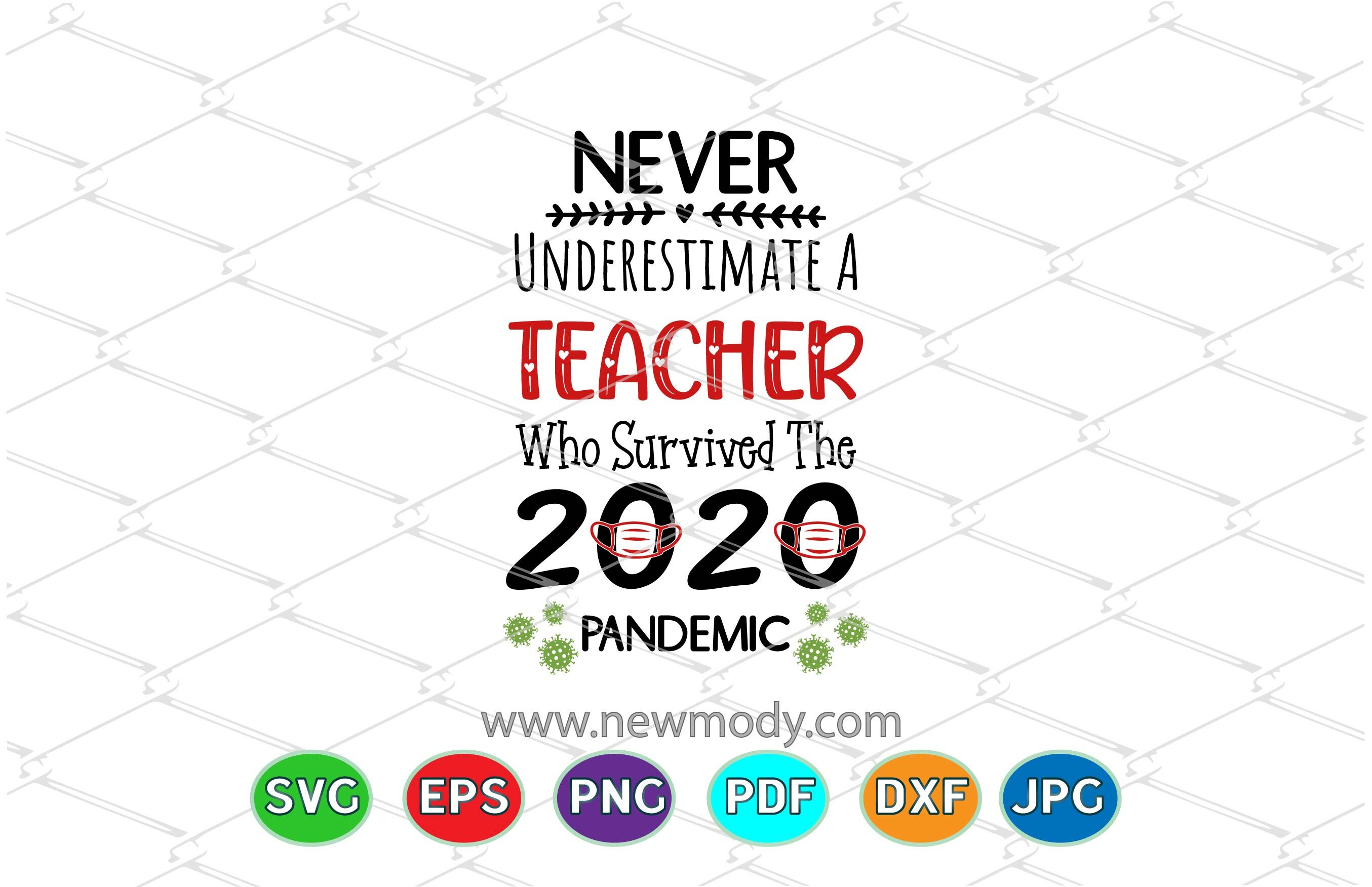 Never Underestimate A Teacher Who Survived 2020 Pandemic Svg By
