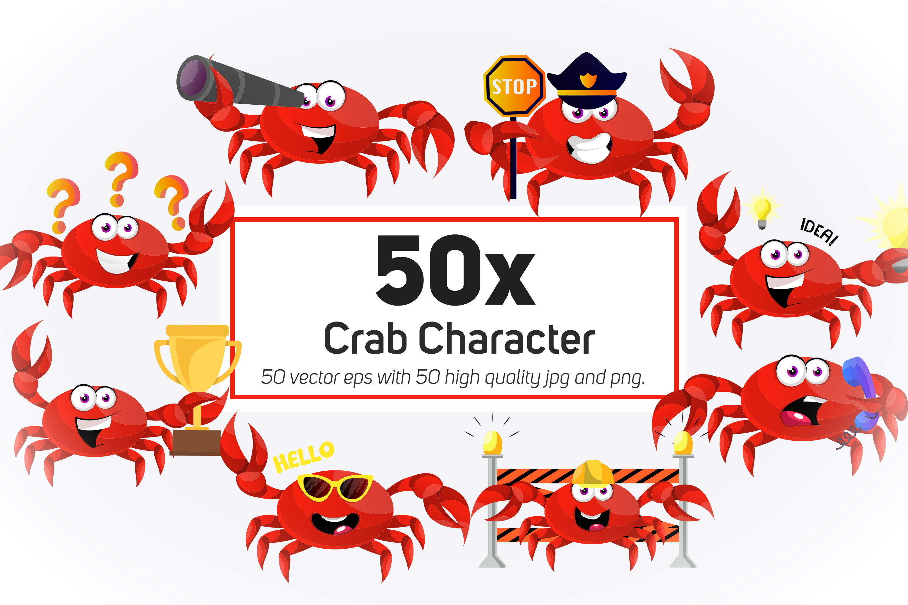 50x Crab Character And Mascot Collection Illustration By Morphart