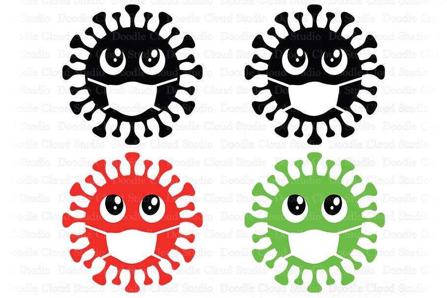 Virus Svg Quarantine Svg Germs Svg Disease With Mask By Doodle