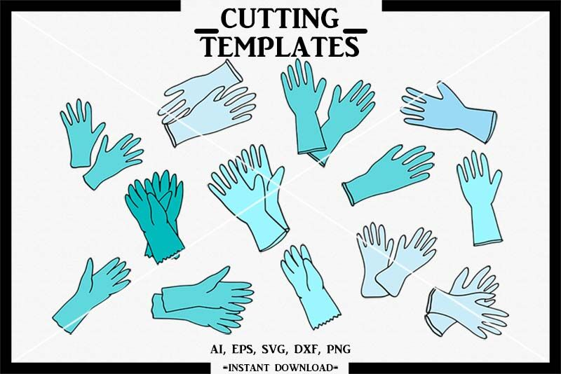 Surgical Gloves Svg Hand Drawn Silhouette Cricut Cameo Dxf
