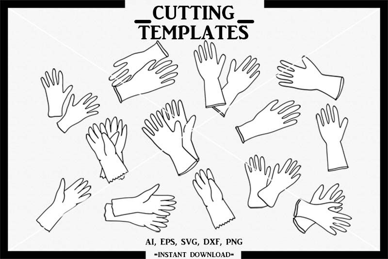 Rubber Gloves Hand Drawn Silhouette Cricut Cut File Svg By