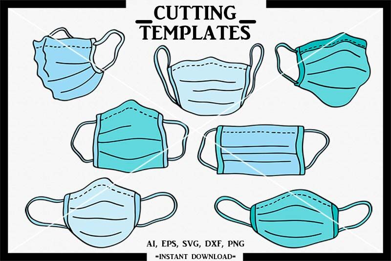 Surgical Mask Svg Hand Drawn Silhouette Cricut Cut File Dxf