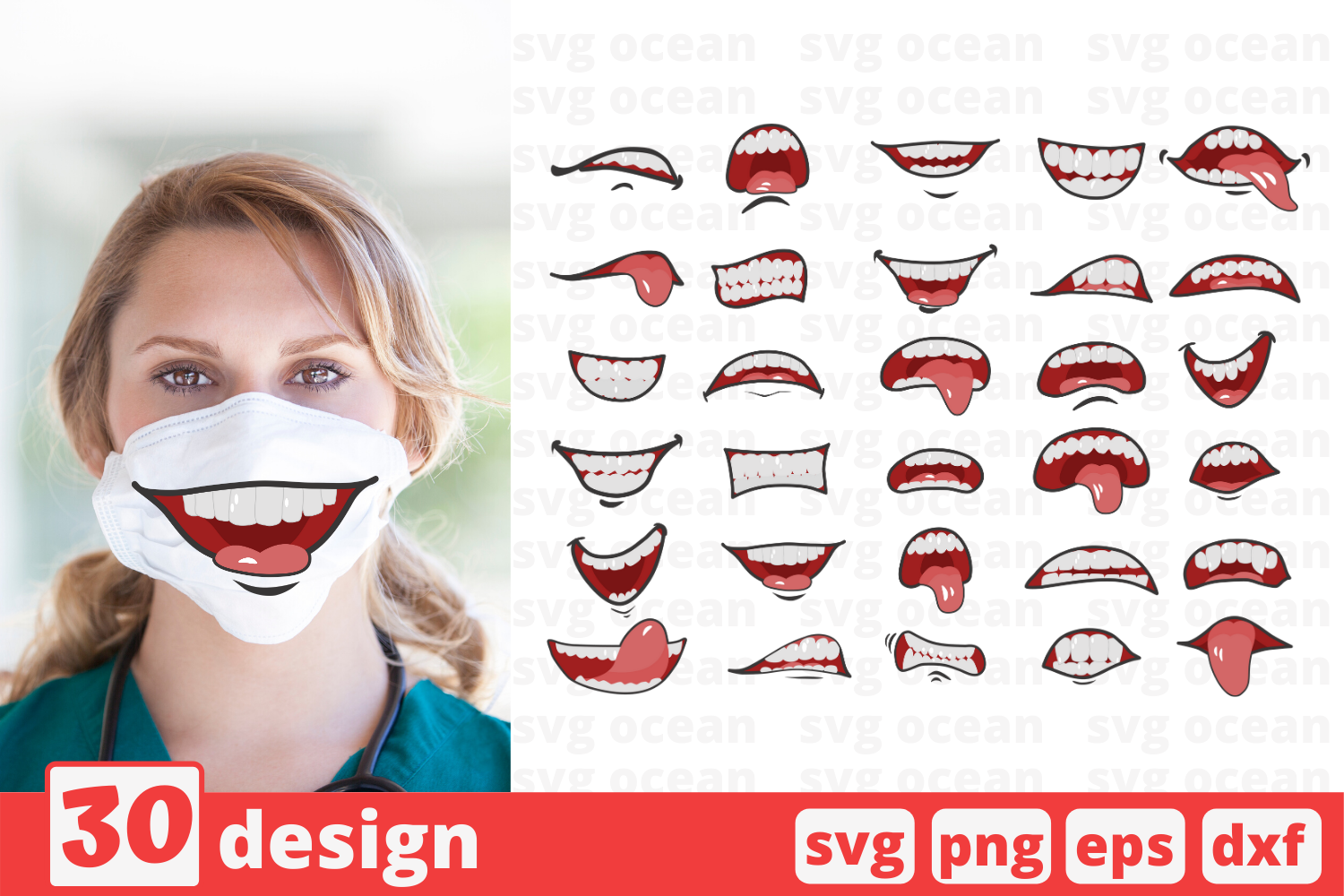 30 Cartoon Mouths Face Mask Svg Pattern Mouth Cricut Svg By Svgocean Thehungryjpeg Com