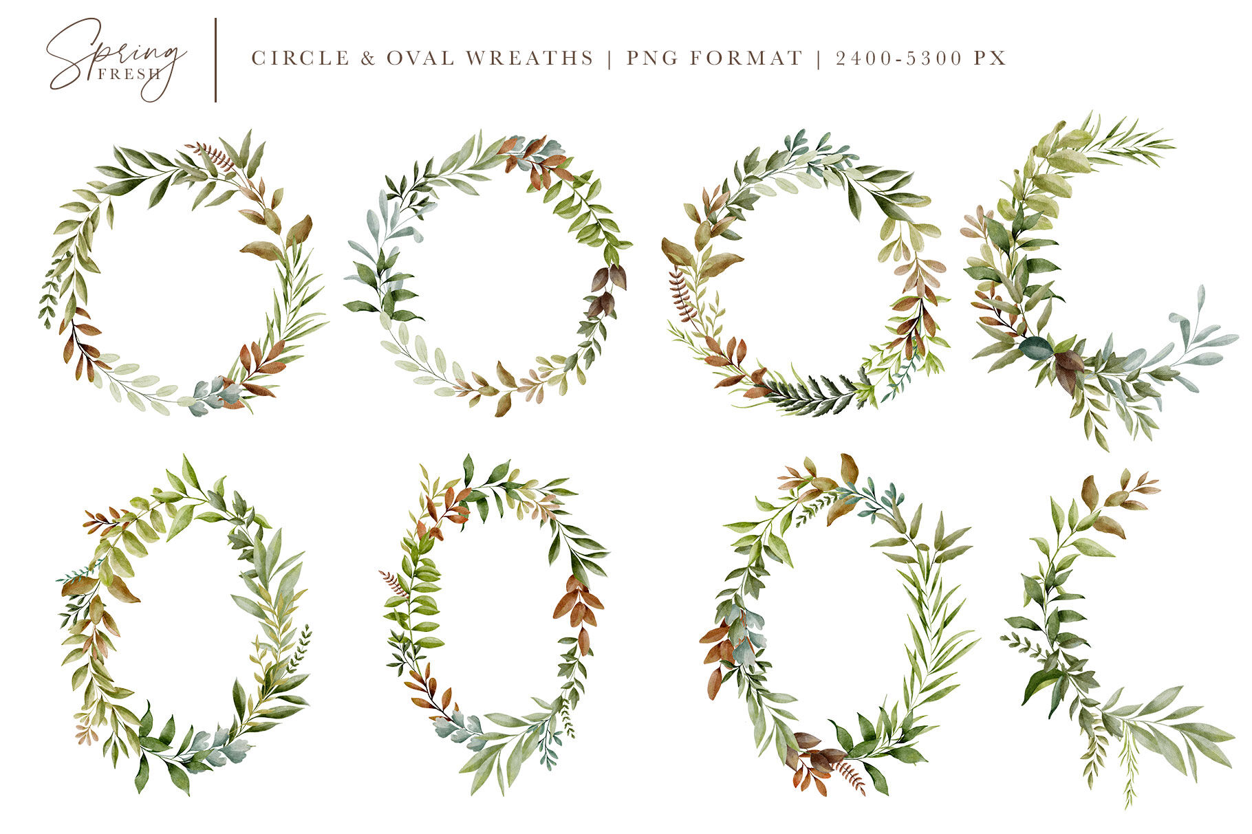 Verdant Watercolor Leaves Greenery Graphics By Avalon Rose