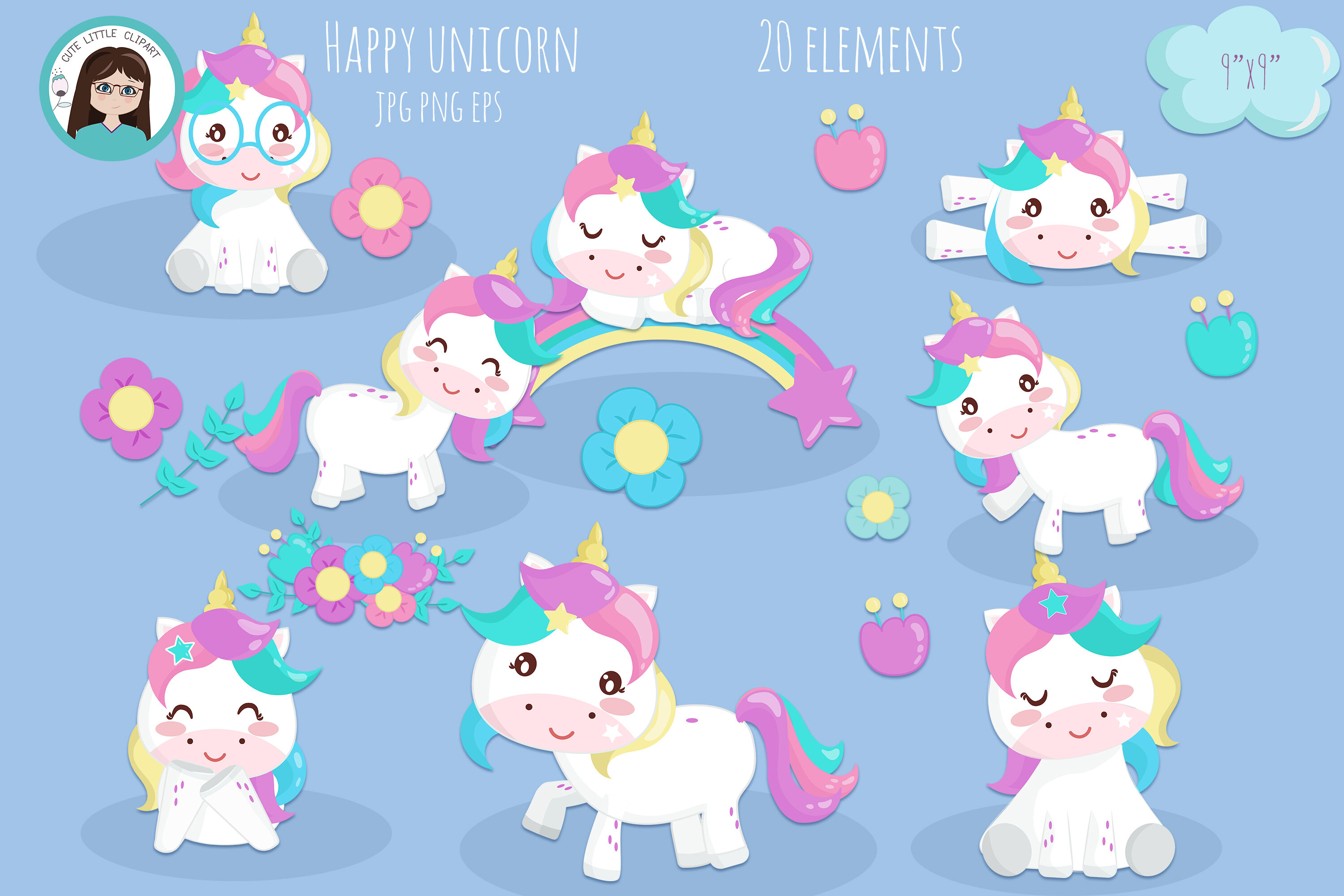 Happy Unicorns By Cute Little Workshop Thehungryjpeg Com