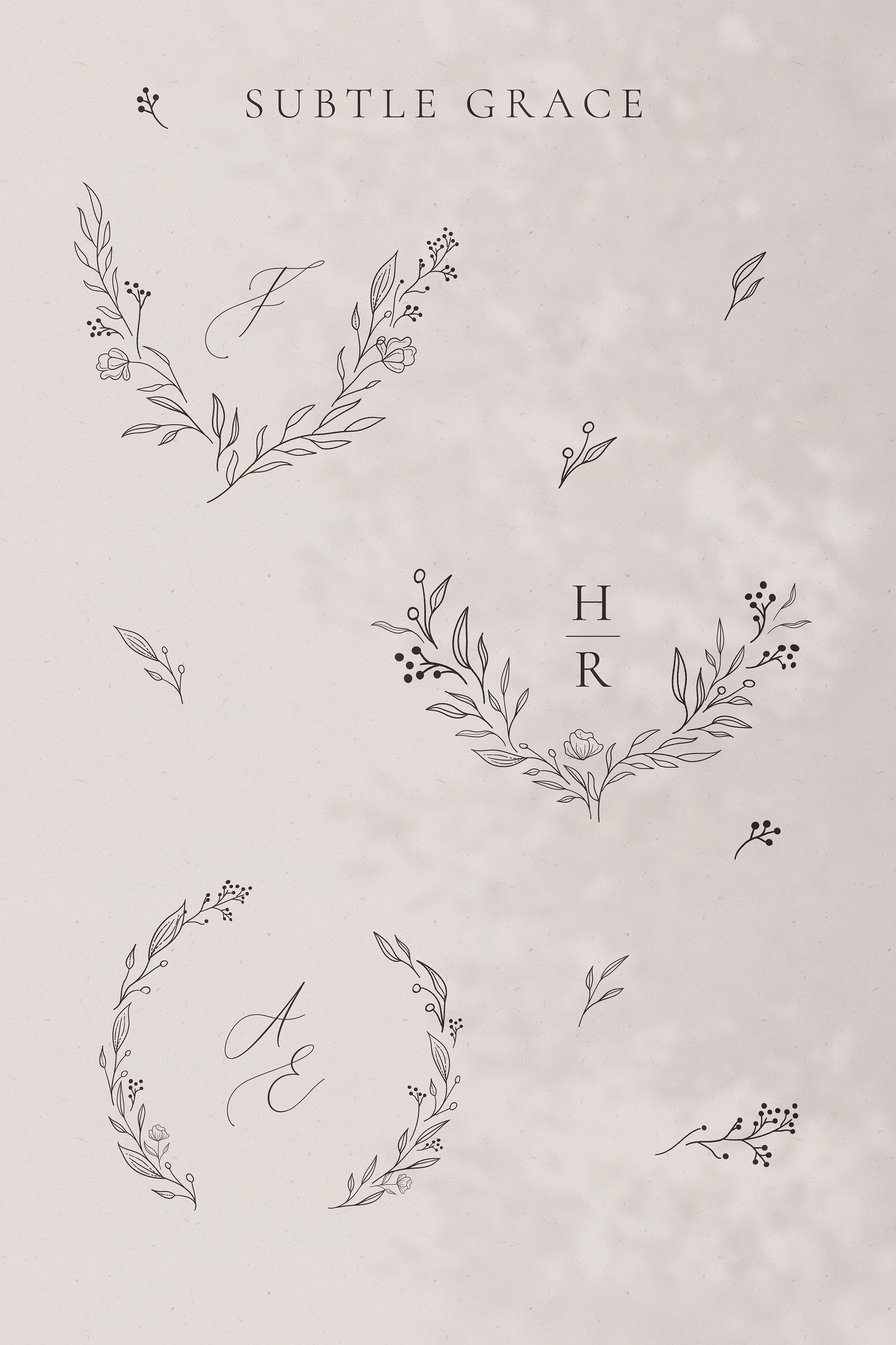 Collection Of Line Drawing Delicate Wreaths Floral Illustration