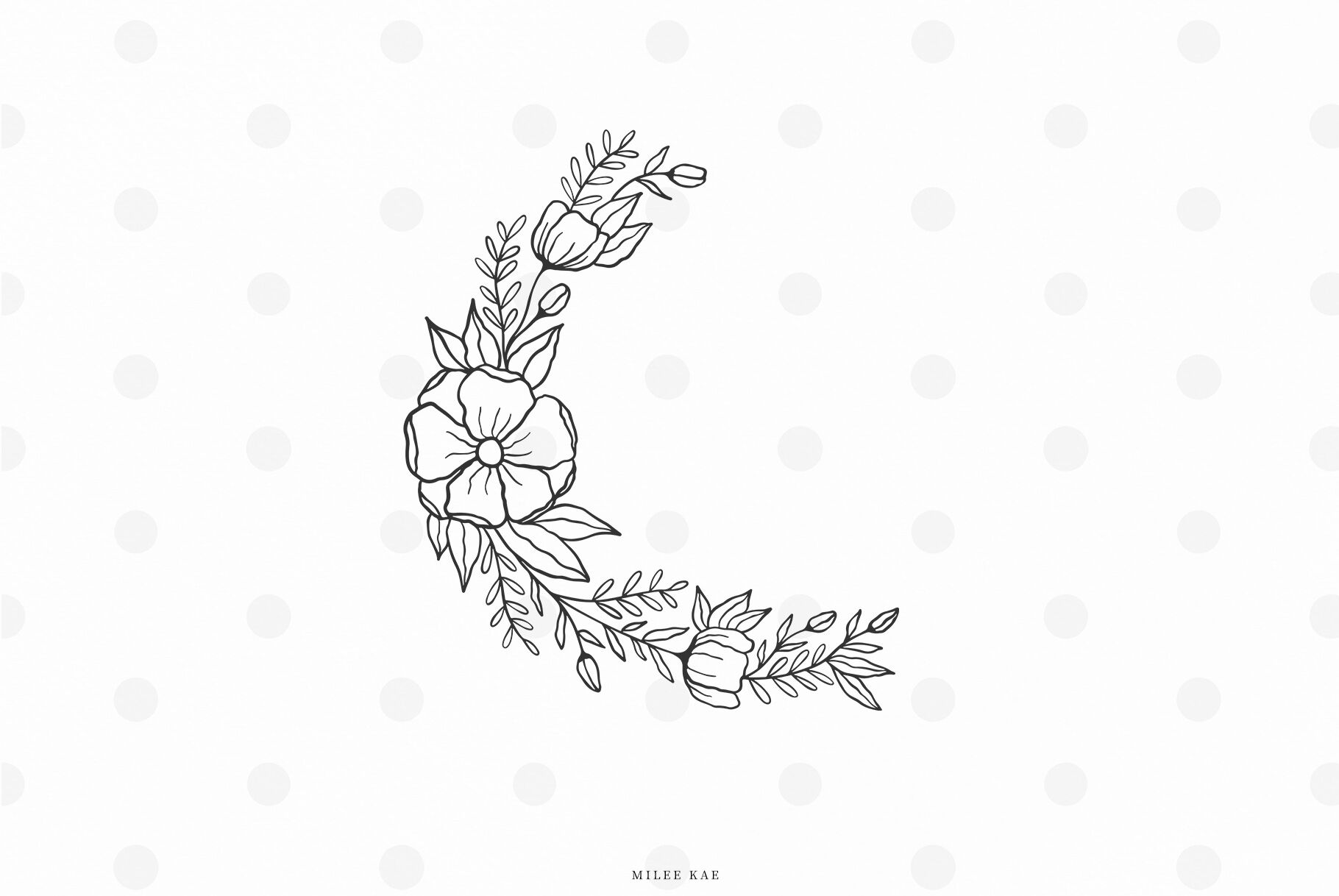Wildflower Moon Wreath Svg Cut File By Mileekae Thehungryjpeg Com