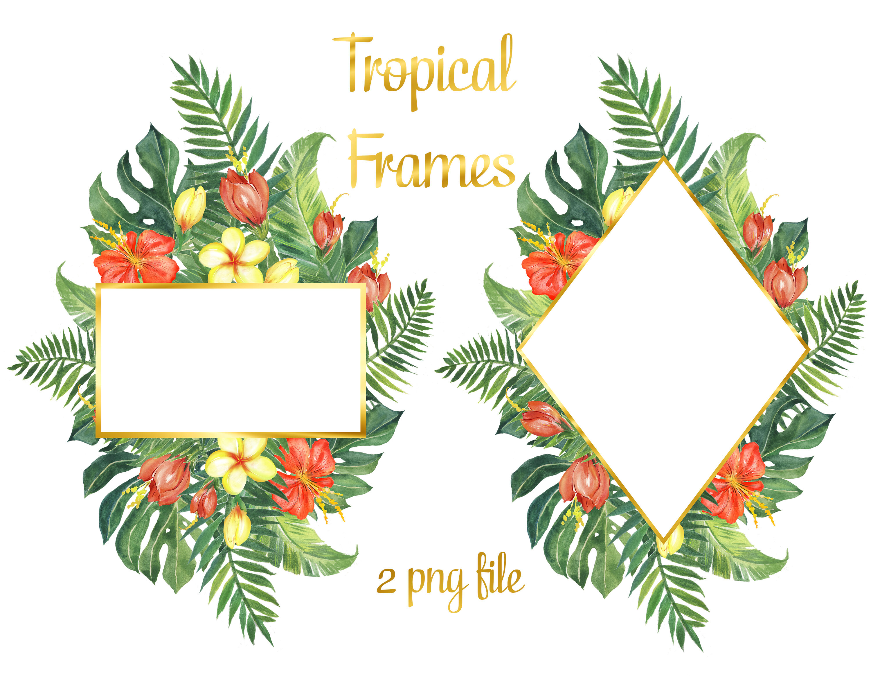 Watercolor Beach Clipart Watercolor Tropical Summer Clipart By