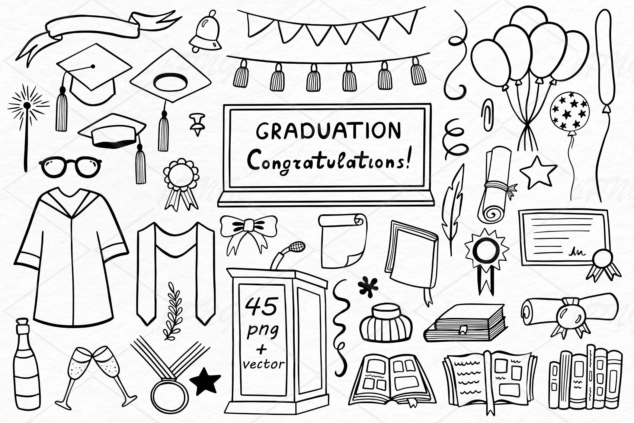 Doodle Graduation Clipart Cap Png Files 300 Dpi Eps Ai Svg