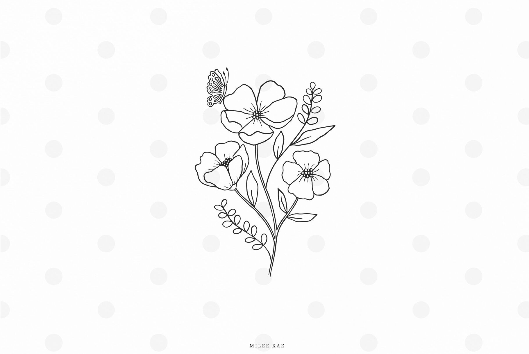Flowers With Butterfly Svg Cut File By Mileekae Thehungryjpeg Com