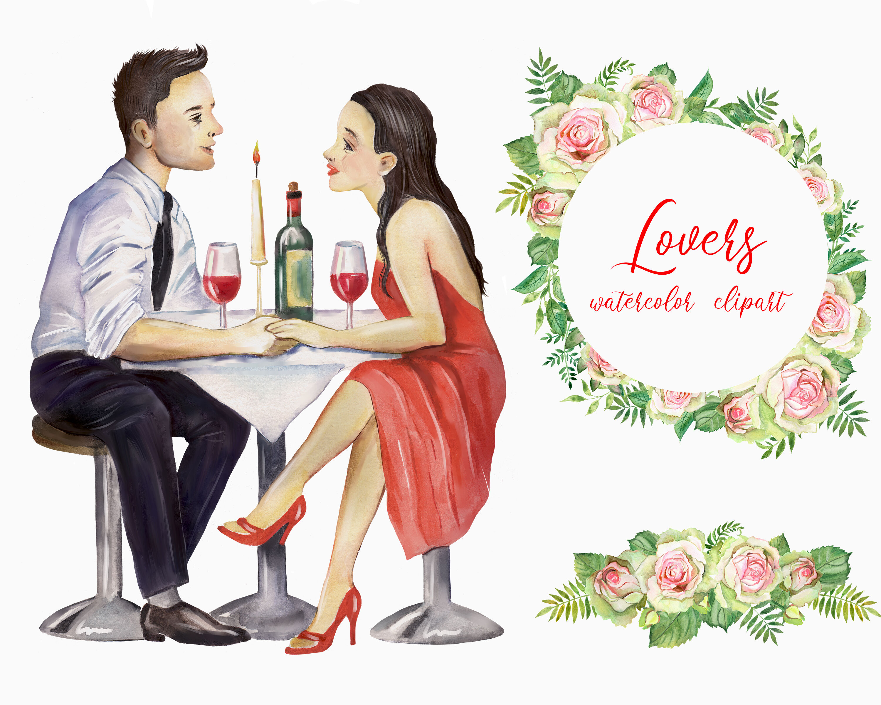 Lovers Watercolor Clipart Couple In Love Love Romance By