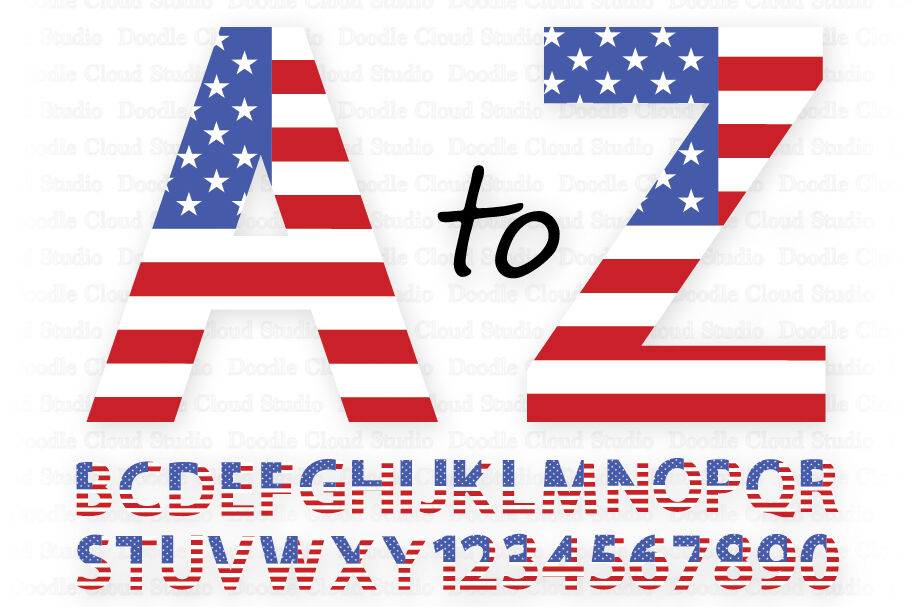 Usa Flag Alphabet Numbers Svg 4th Of July Letters By Doodle