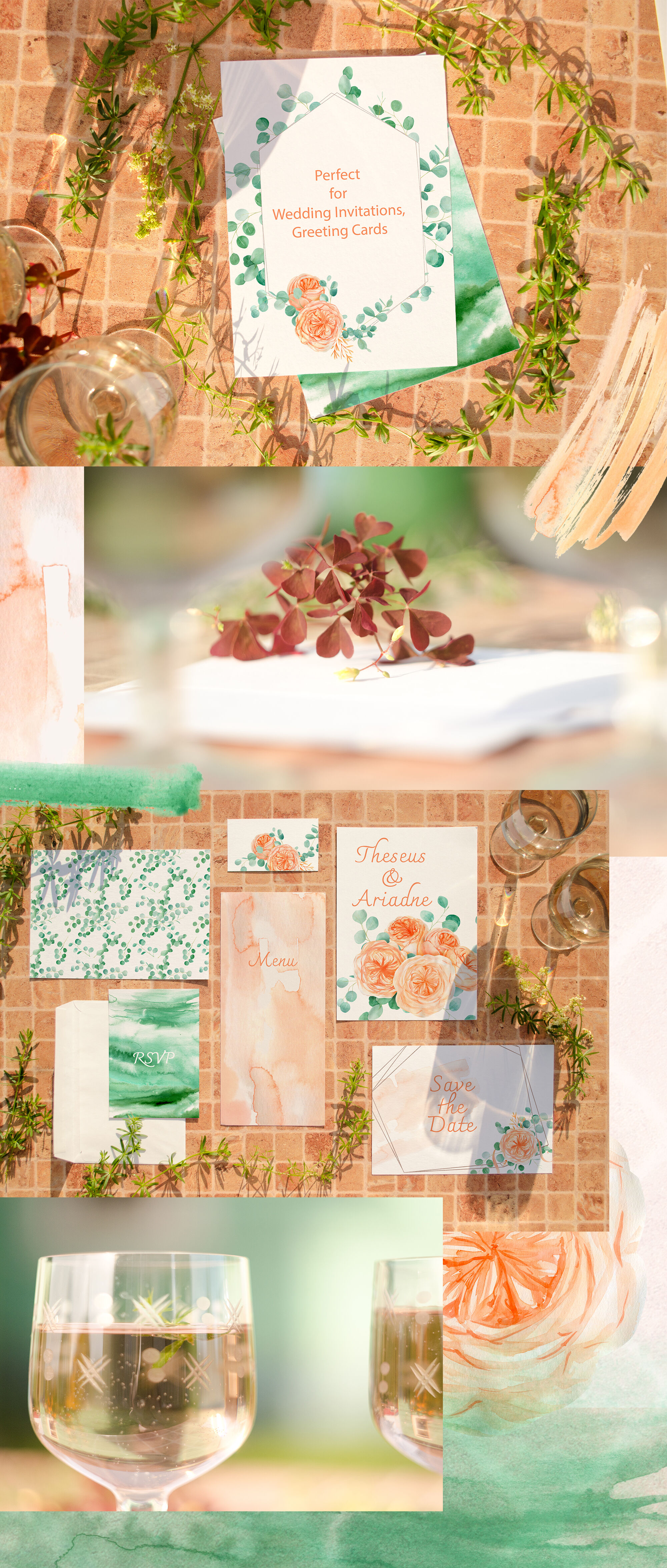 Watercolor Eucalyptus And Peach Floral Clipart By Nataar