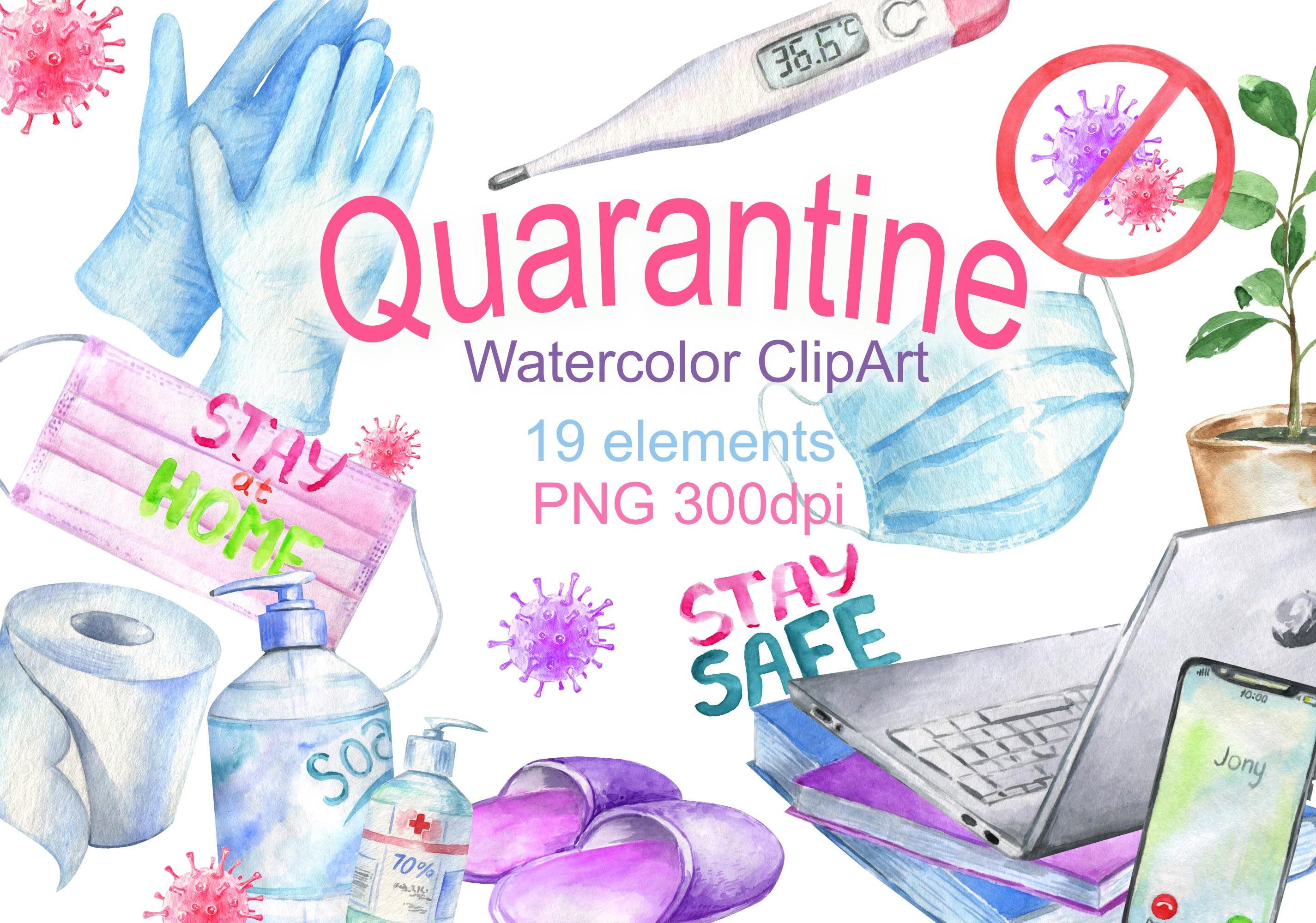 Watercolor Quarantine Virus Self Isolation Epidemic Covid Clipart