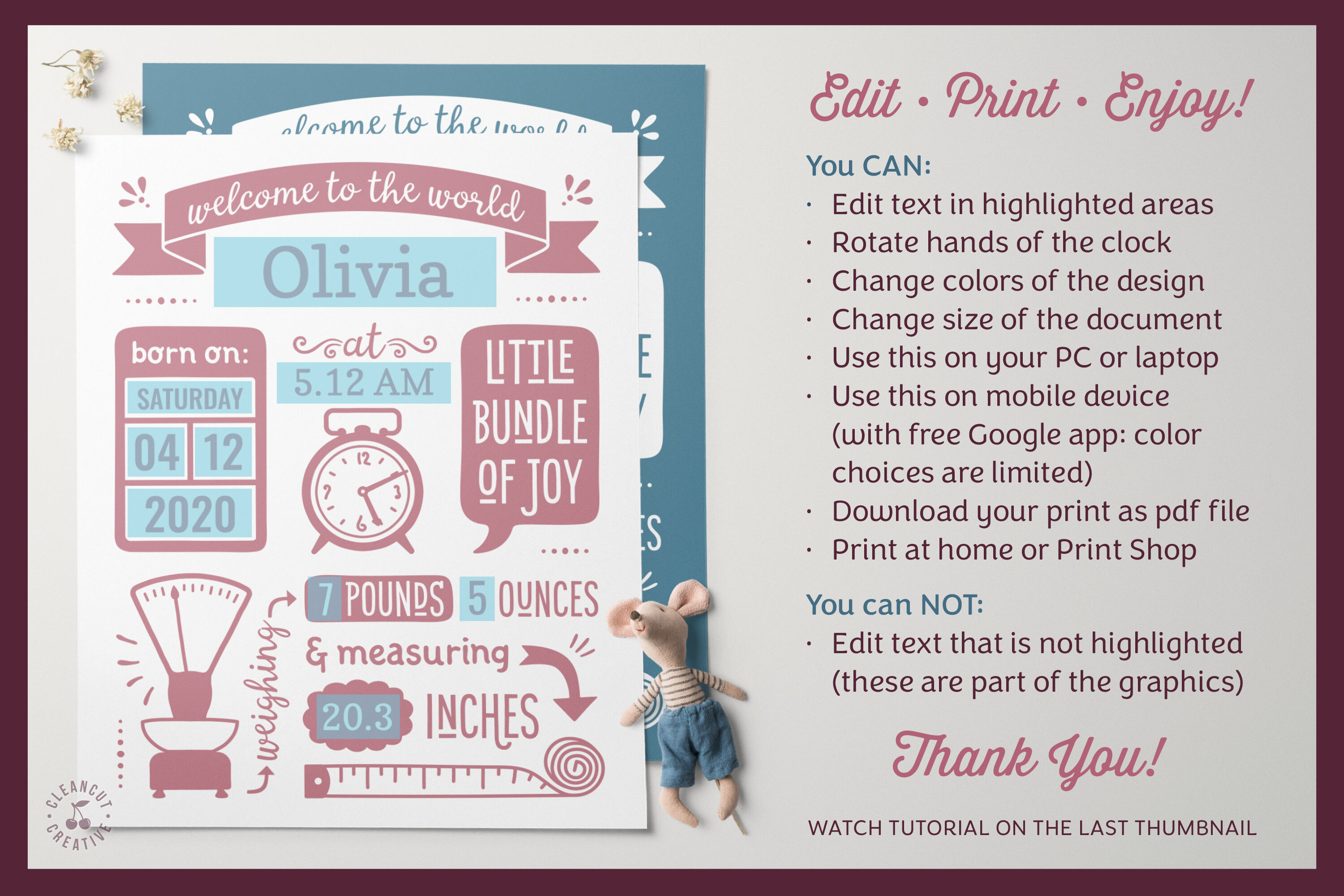 Printable Birth Announcement Template Google Edit Baby Stats