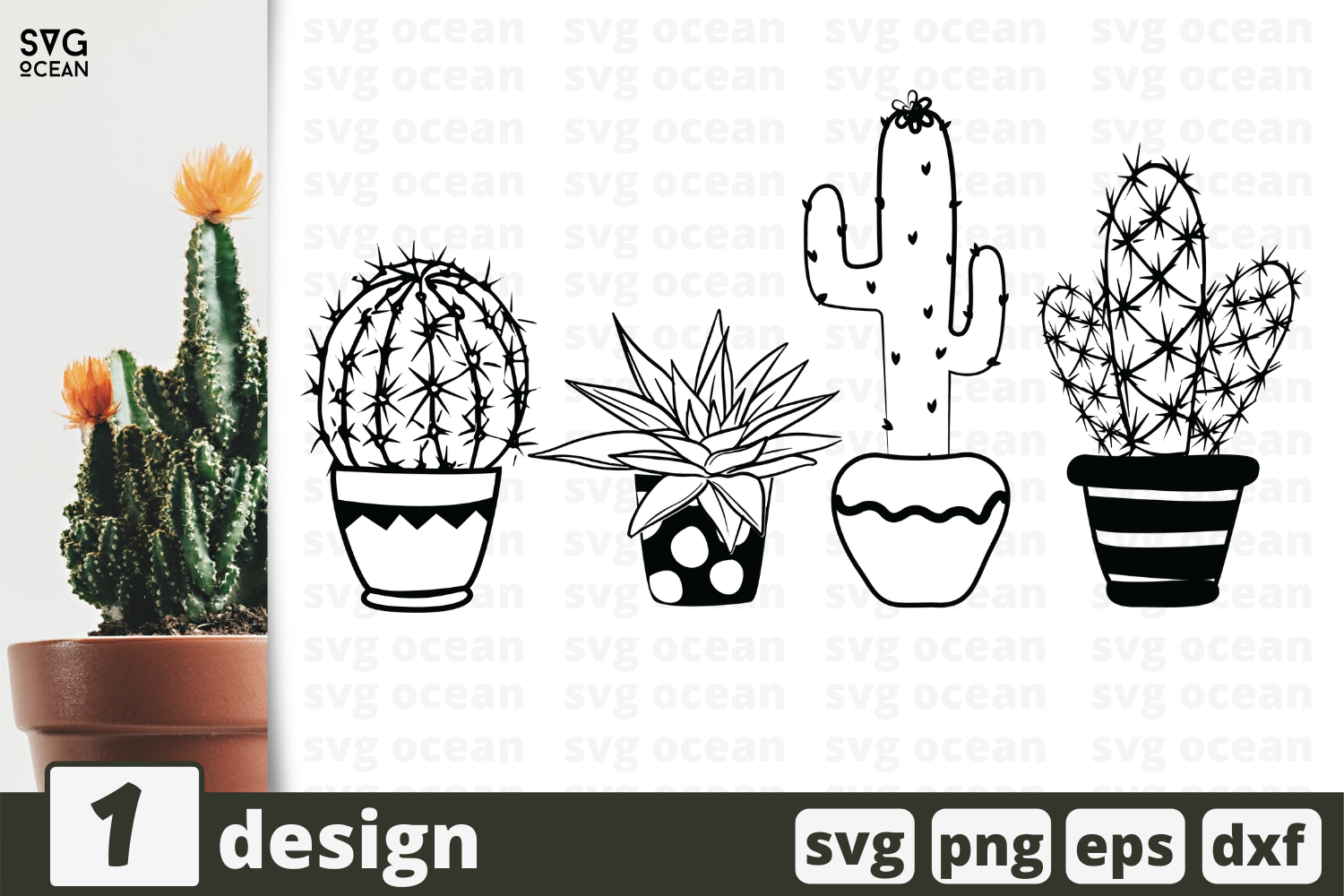 1 Cactus Svg Bundle Flower In A Pot Cricut Svg By Svgocean