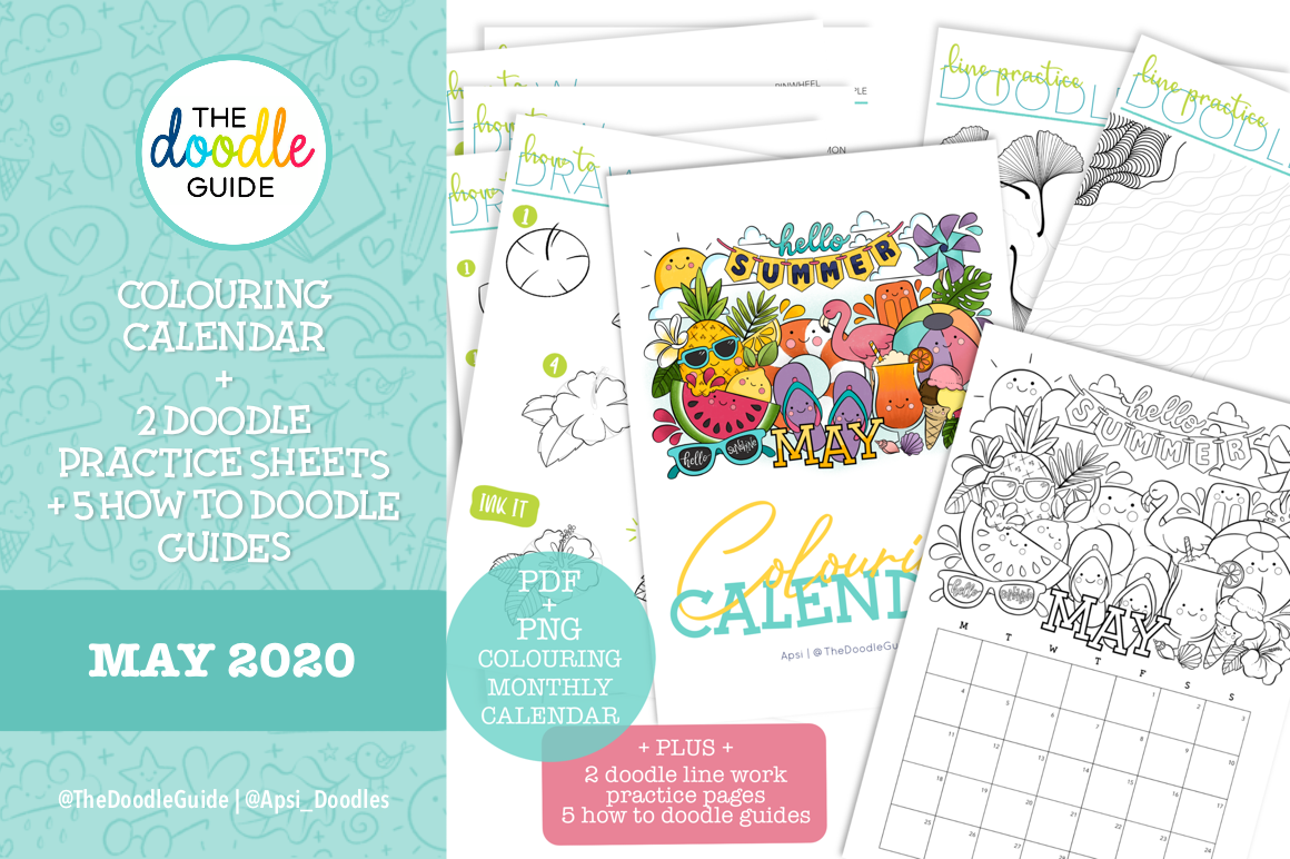 Coloring Calendar Doodle Guides By Apsi Thehungryjpeg Com