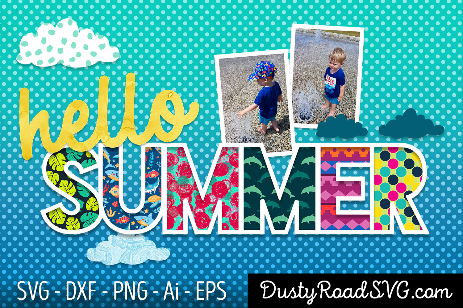 Hello Summer Scrapbook Cut File Svg Png Eps Dxf By Dustyroaddesign Thehungryjpeg Com