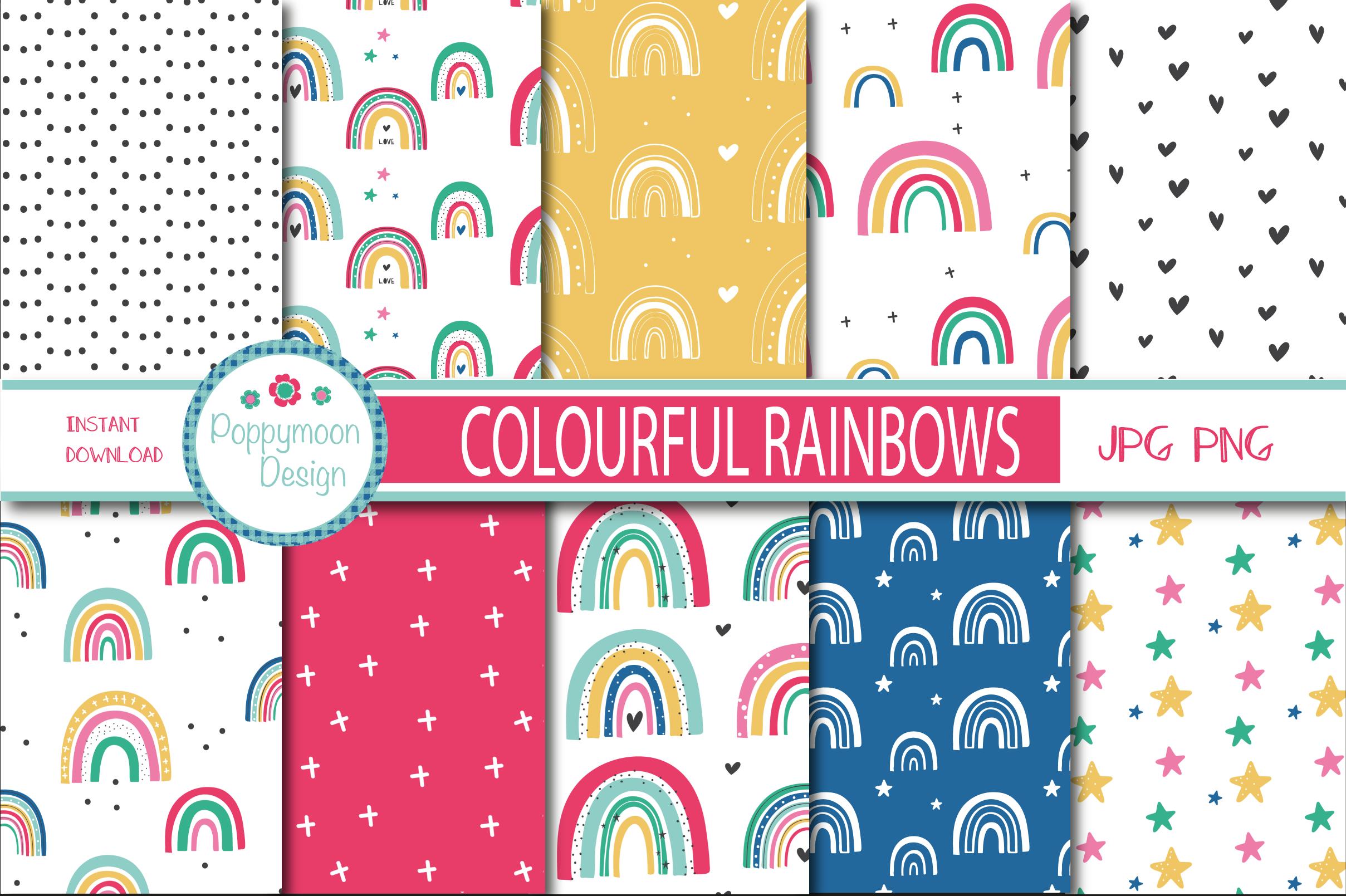 Colourful Rainbow Paper By Poppymoon Design Thehungryjpeg Com