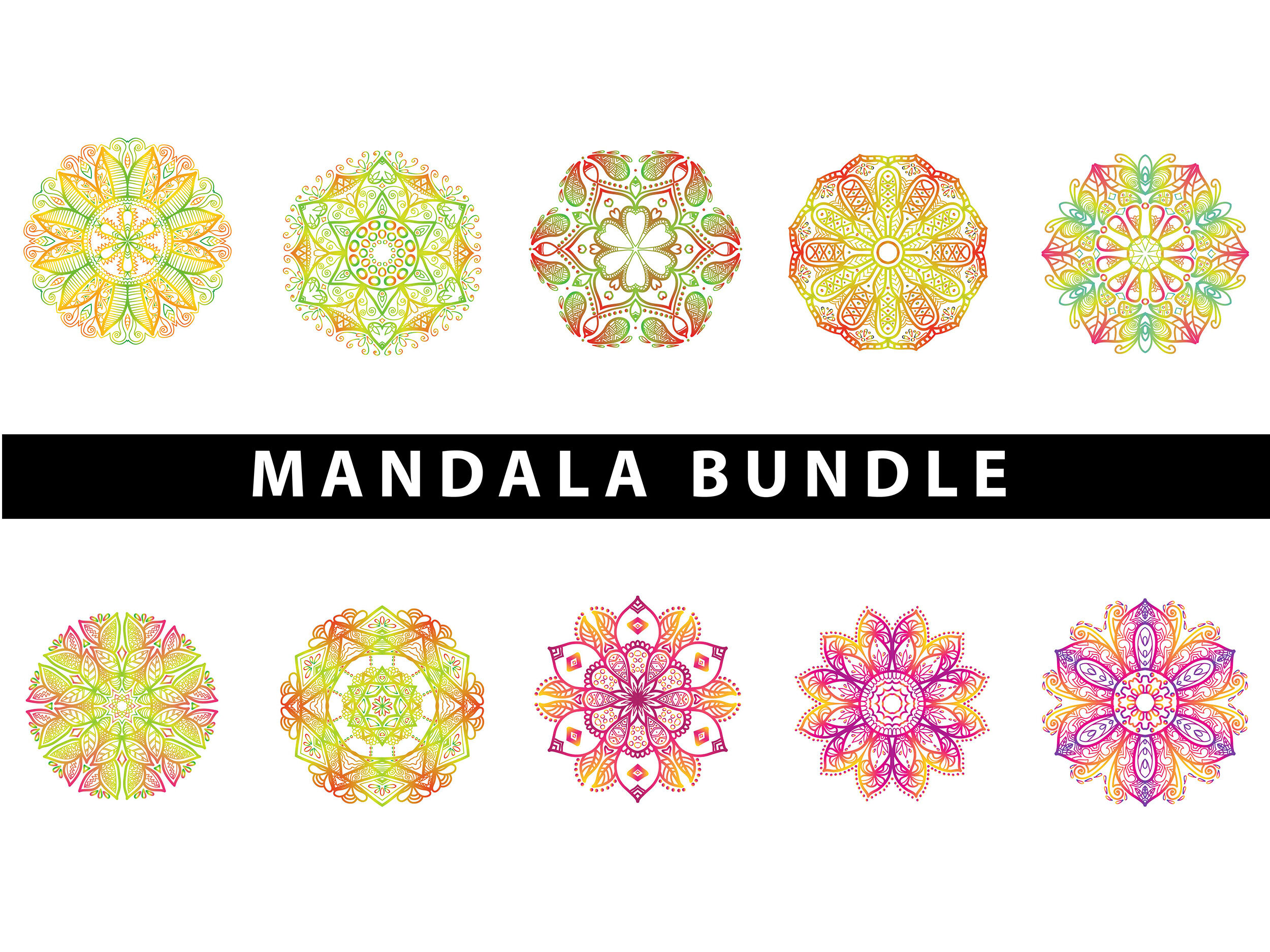Mandala Art Bundle 10 Pattern Colorful By Red Sugar Design