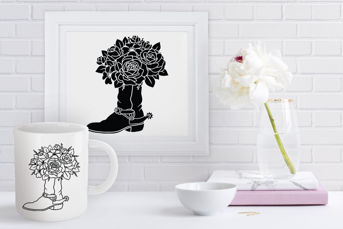Cowboy Boots With Flowers Svg Cowboy Boots Svg Cowgirl Boots Svg