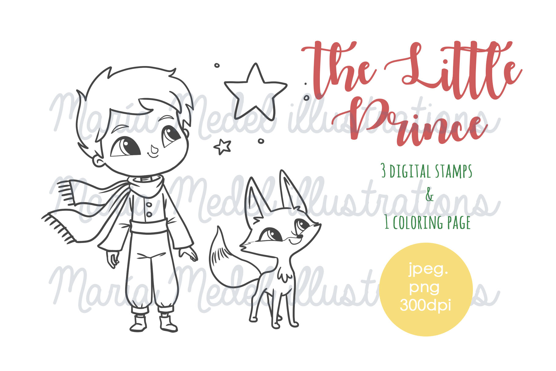 The Little Prince Coloring Pages Digital Stamps By Maria Medel
