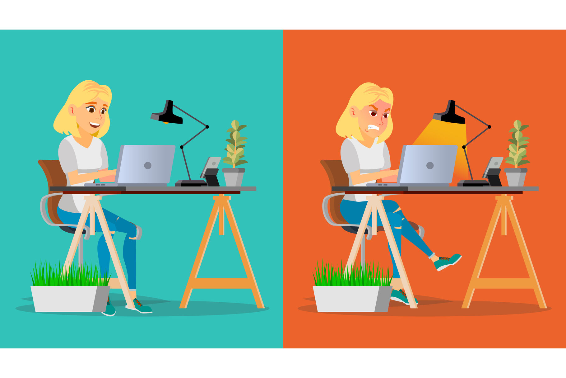 Stressed Out Woman Vector Blonde Girl Working At Office Stressful Work Job Tired Business Person Hard Career Calm Company Employee Flat Cartoon Character Illustration By Pikepicture Thehungryjpeg Com