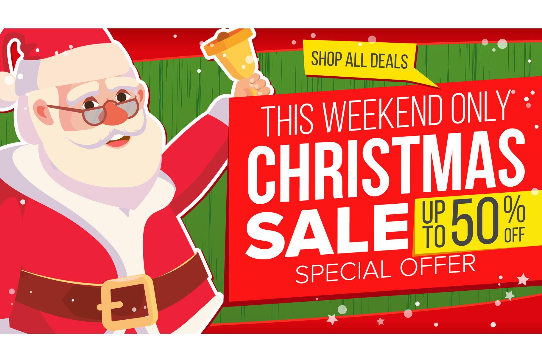 Big Christmas Sale Banner With Happy Santa Claus Vector Sale
