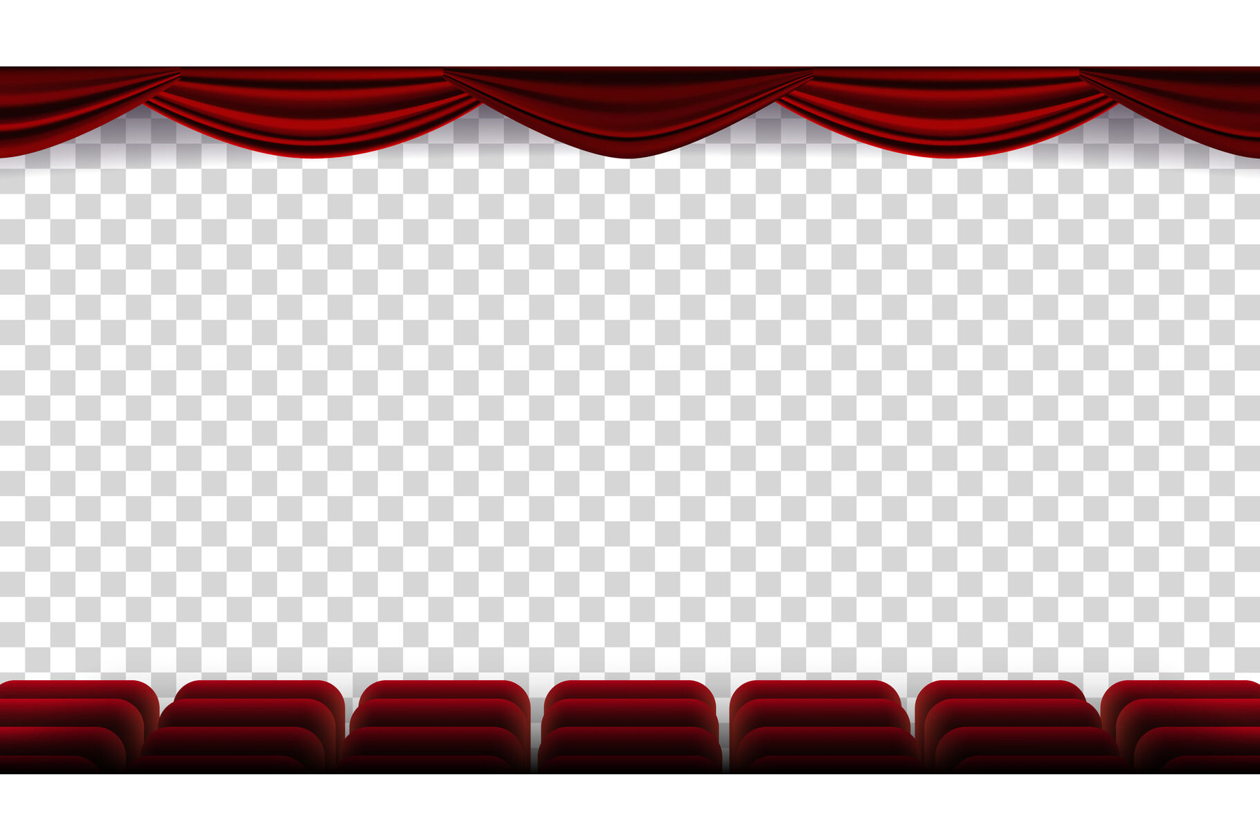 Cinema Chairs Vector Film Movie Theater Auditorium With Red Seat Row Of Chairs Blank Screen Isolated On Transparent Background Illustration By Pikepicture Thehungryjpeg Com