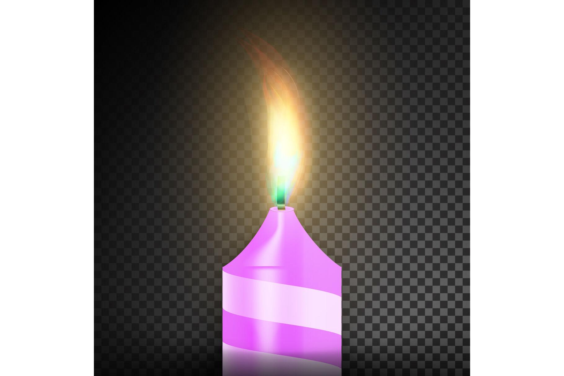 Burning 3d Realistic Dinner Candles Dark Transparent Background