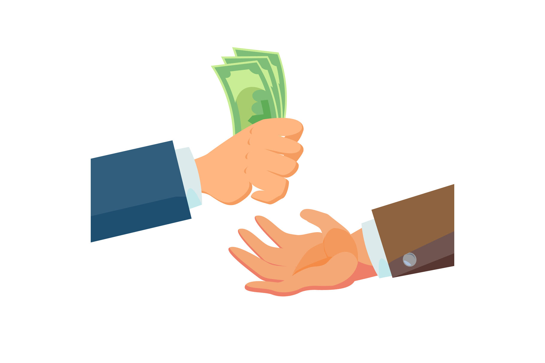 Businessman Hands Giving Money Vector. Salesman Agent And Owner. Banking  Finance Sale Concept. Flat Business Cartoon Isolated Illustration By  Pikepicture | TheHungryJPEG.com