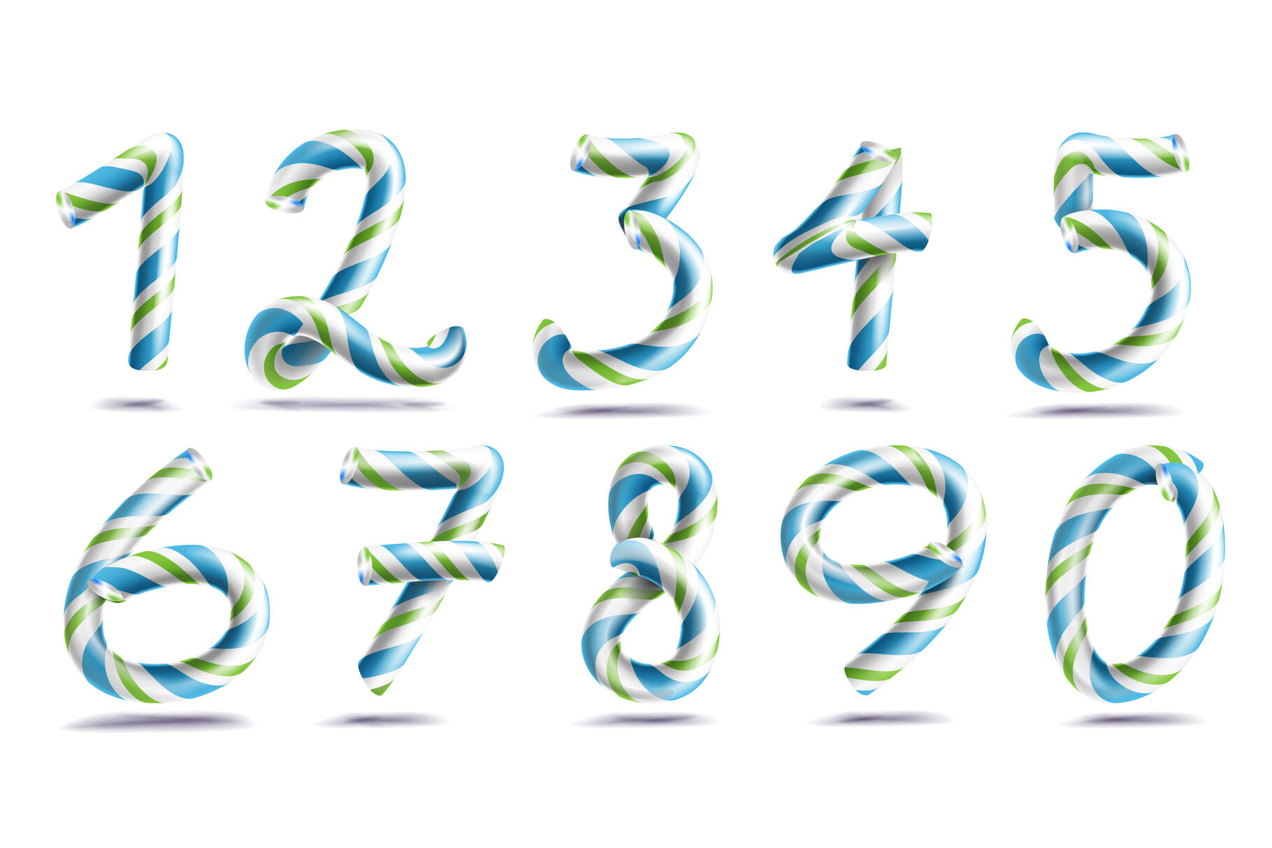 Numbers Sign Set Vector 3d Numerals Figures 1 2 3 4 5 6 7