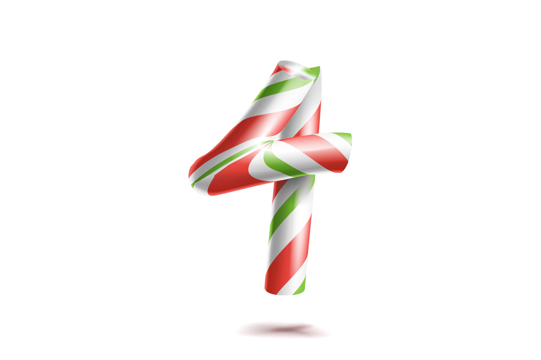 4 Number Four Vector 3d Number Sign Figure 4 In Christmas