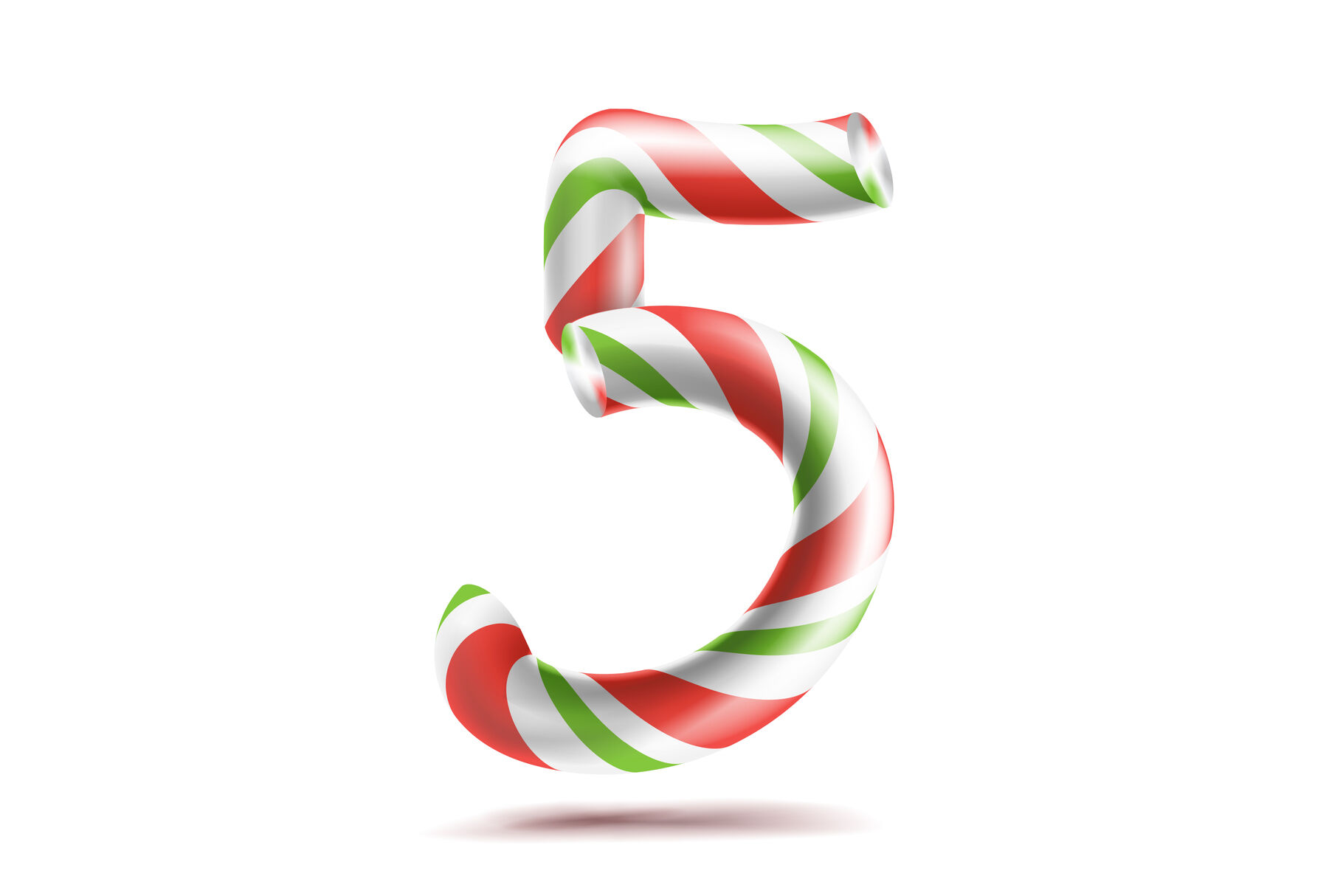 5 Number Five Vector 3d Number Sign Figure 5 In Christmas