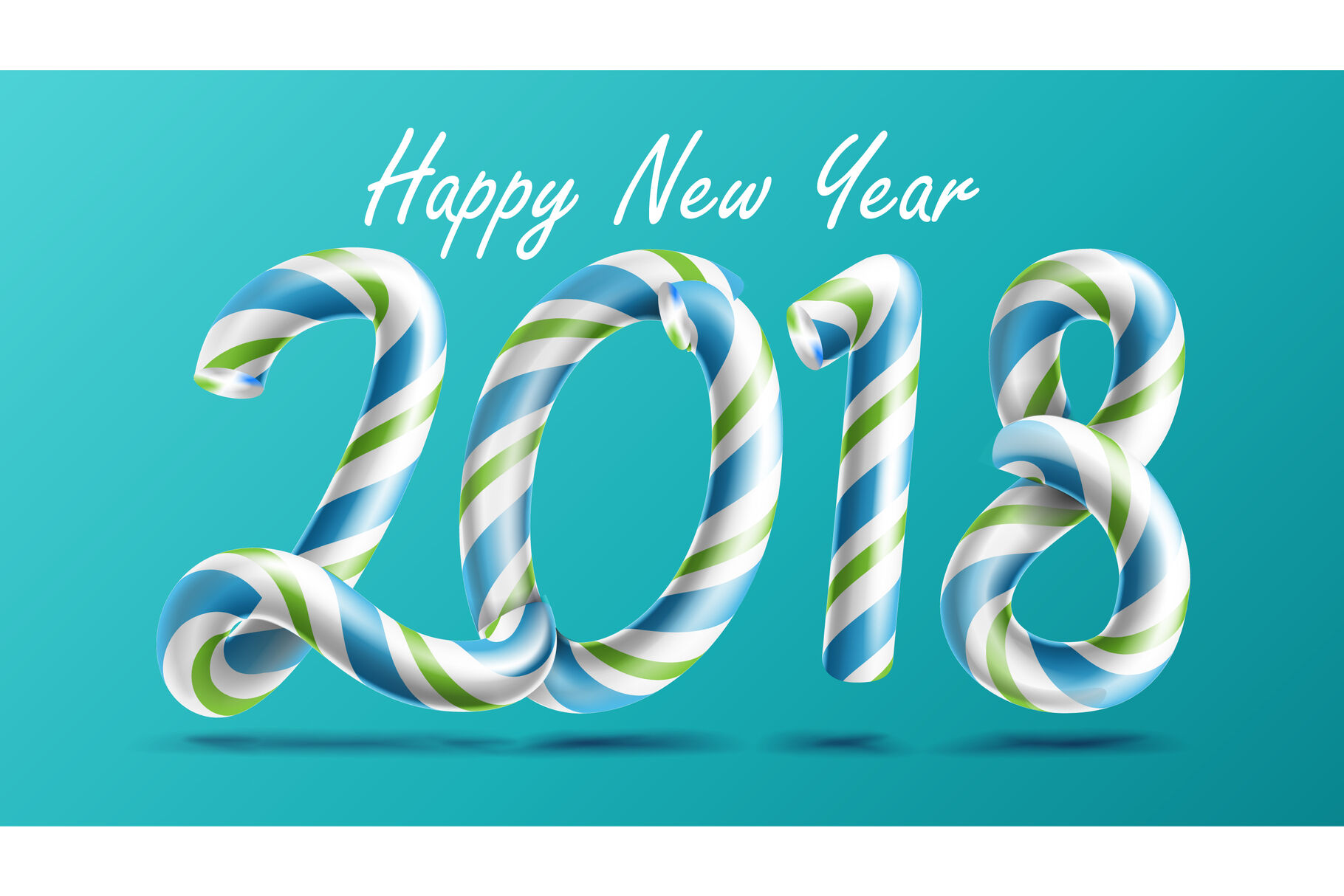 2018 Happy New Year Vector 3d Number Sign In Christmas Colours