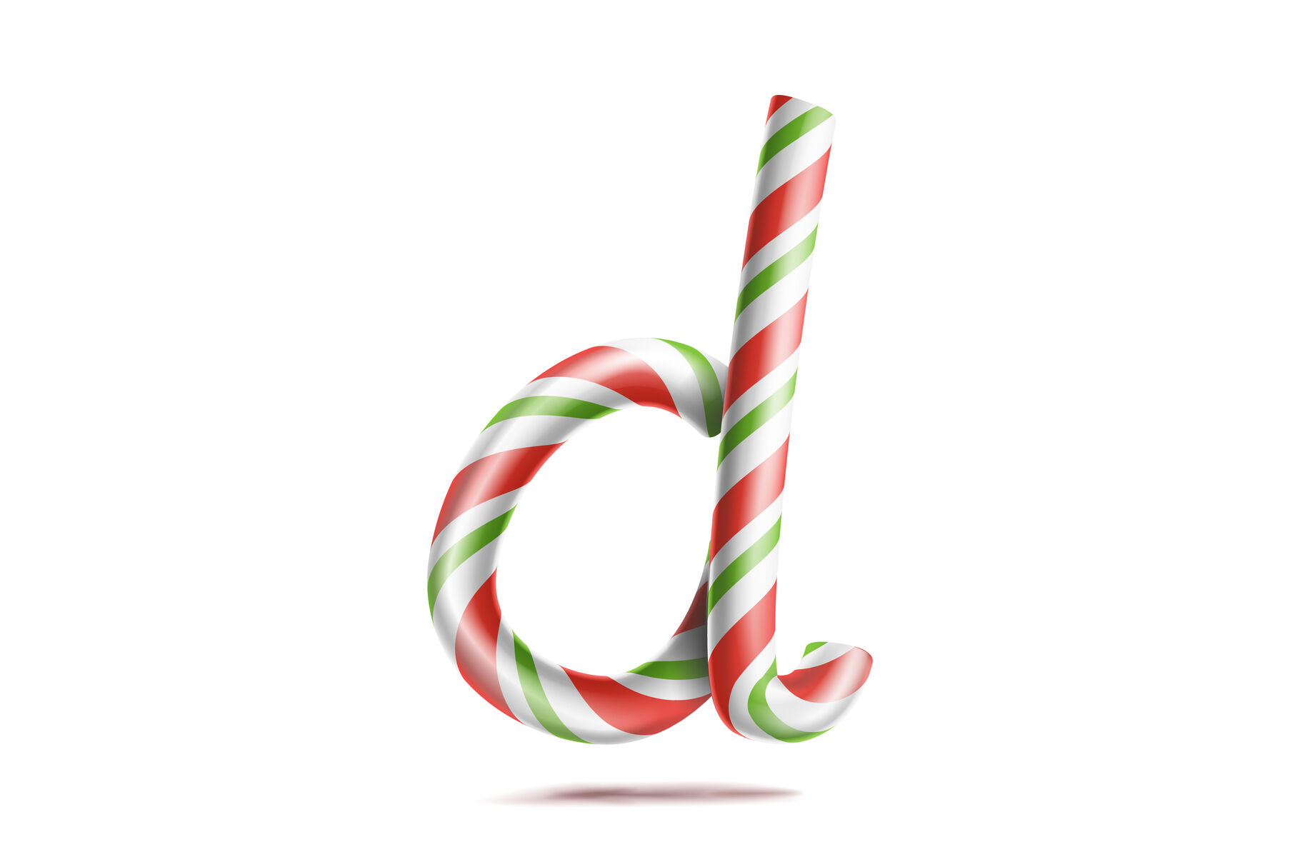 Letter D Vector 3d Realistic Candy Cane Alphabet Symbol In