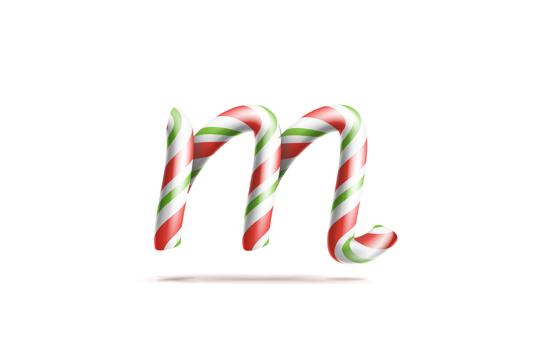 Letter M Vector 3d Realistic Candy Cane Alphabet Symbol In