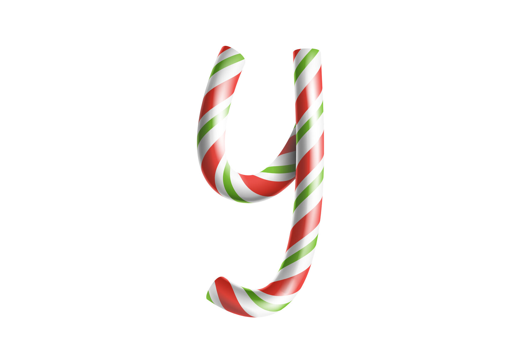 Letter Y Vector 3d Realistic Candy Cane Alphabet Symbol In