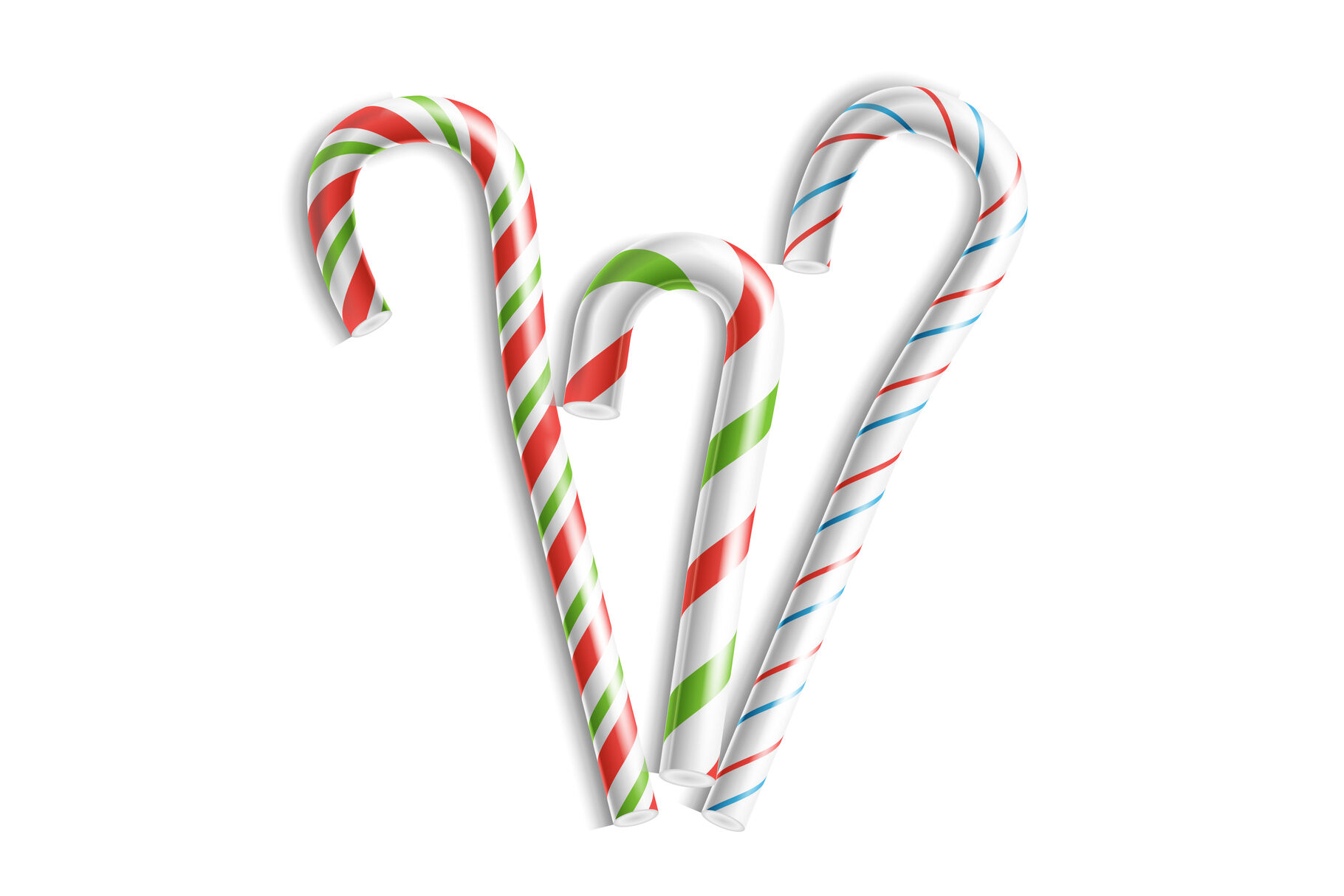 3d Xmas Candy Cane Set Vector Isolated On White For Christmas