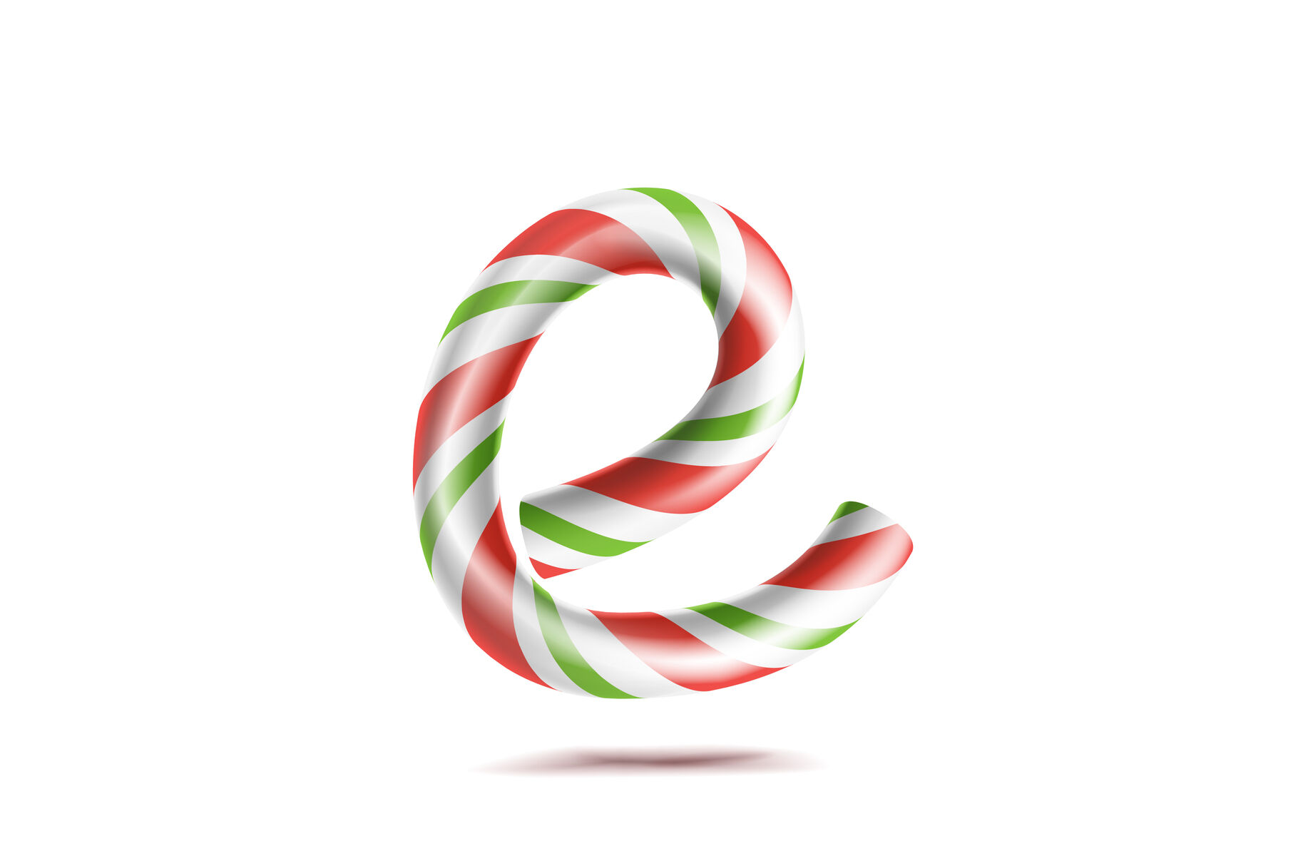 Letter E Vector 3d Realistic Candy Cane Alphabet Symbol In