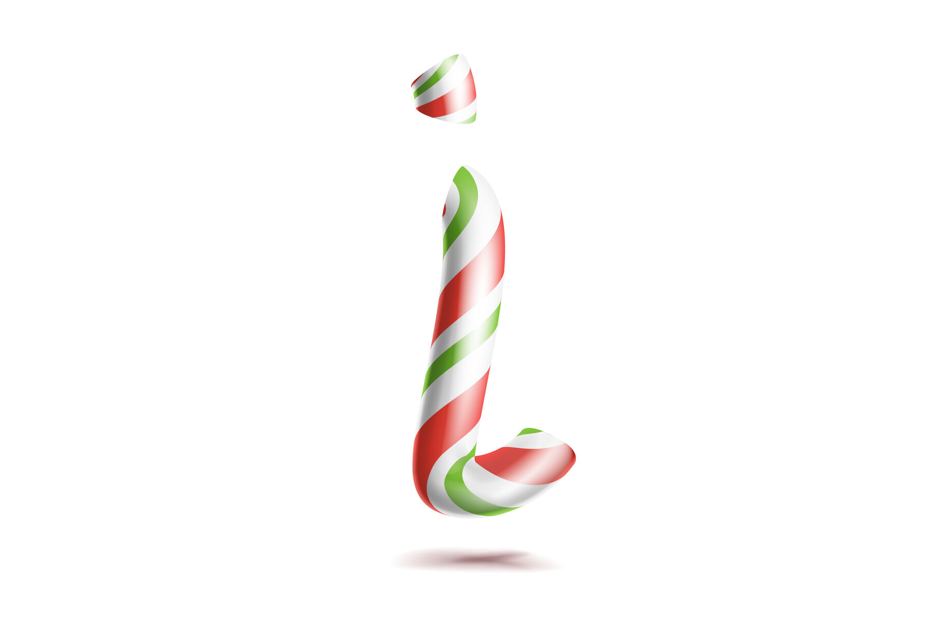 Letter I Vector 3d Realistic Candy Cane Alphabet Symbol In